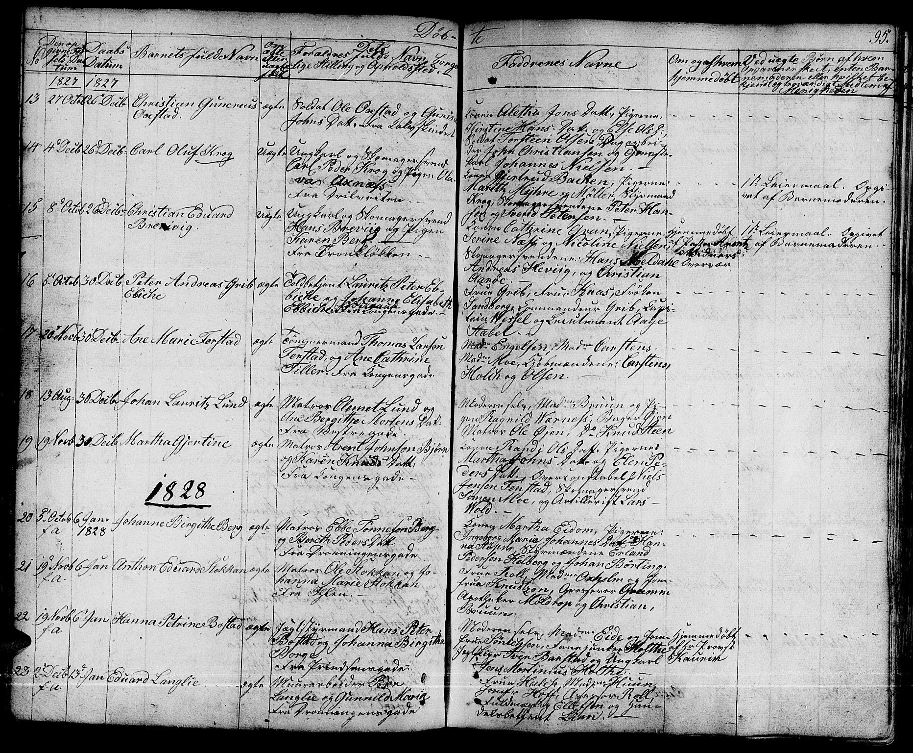 SAT, Ministerialprotokoller, klokkerbøker og fødselsregistre - Sør-Trøndelag, 601/L0045: Ministerialbok nr. 601A13, 1821-1831, s. 95