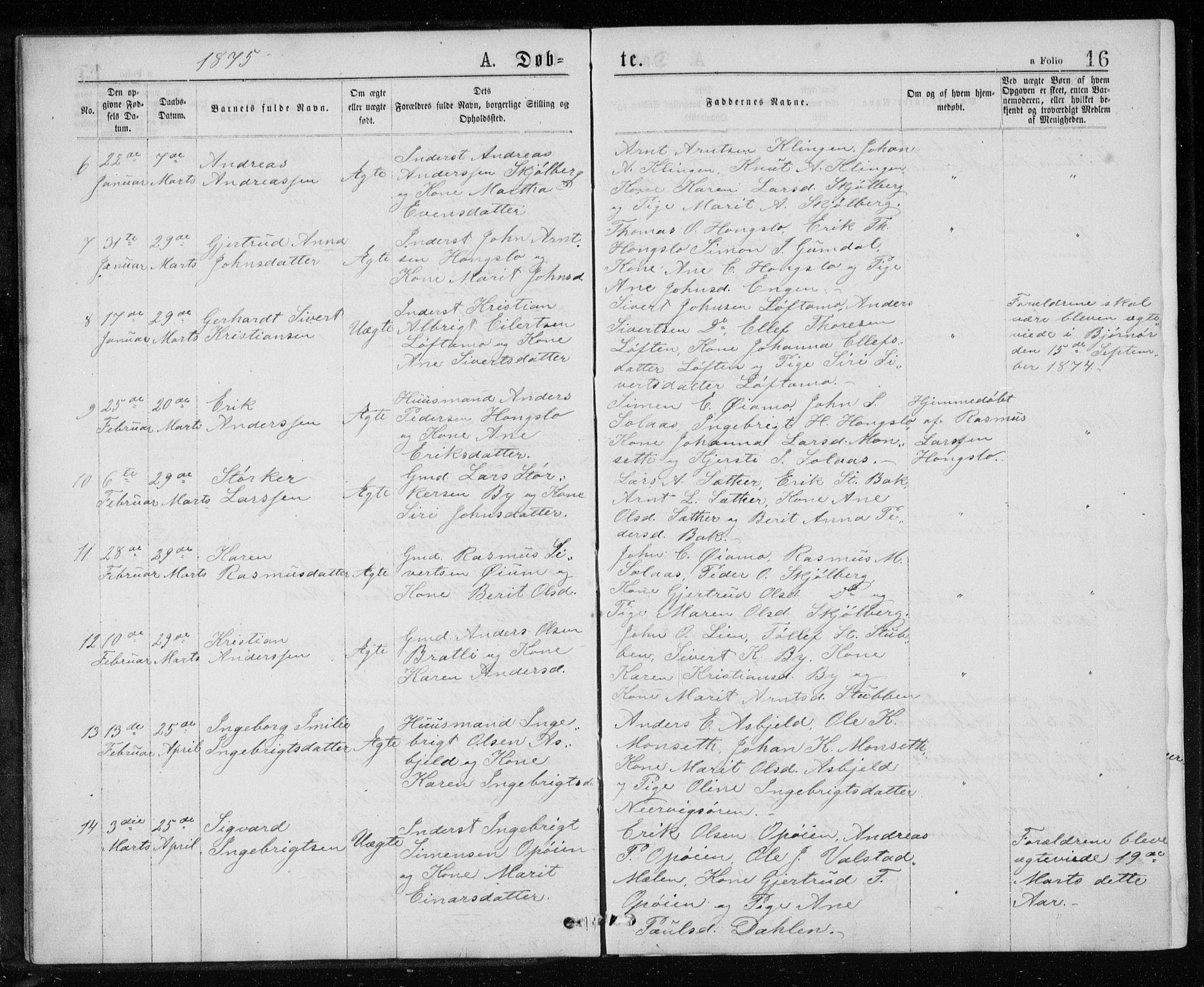 SAT, Ministerialprotokoller, klokkerbøker og fødselsregistre - Sør-Trøndelag, 671/L0843: Klokkerbok nr. 671C02, 1873-1892, s. 16