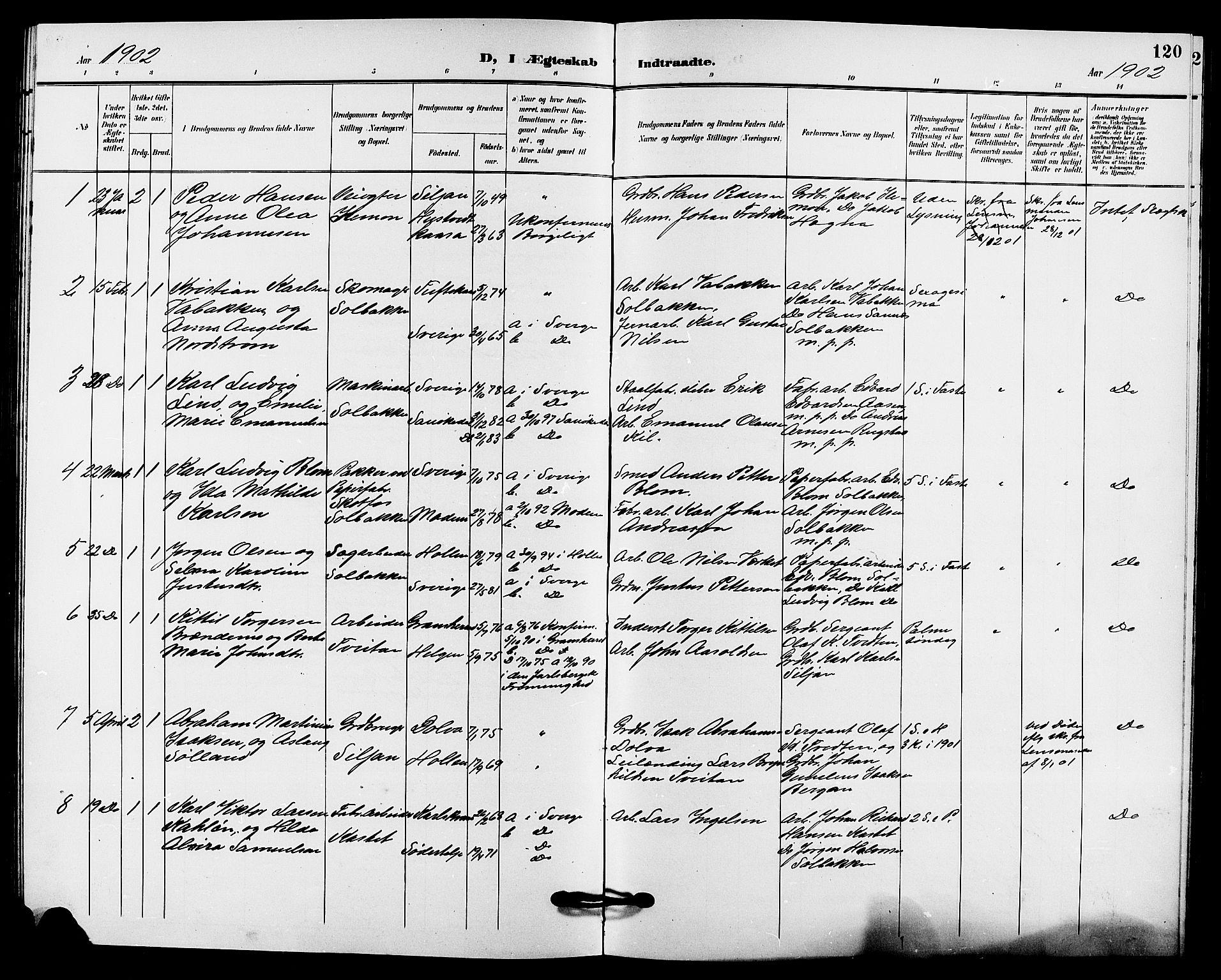 SAKO, Solum kirkebøker, G/Gb/L0004: Klokkerbok nr. II 4, 1898-1905, s. 120