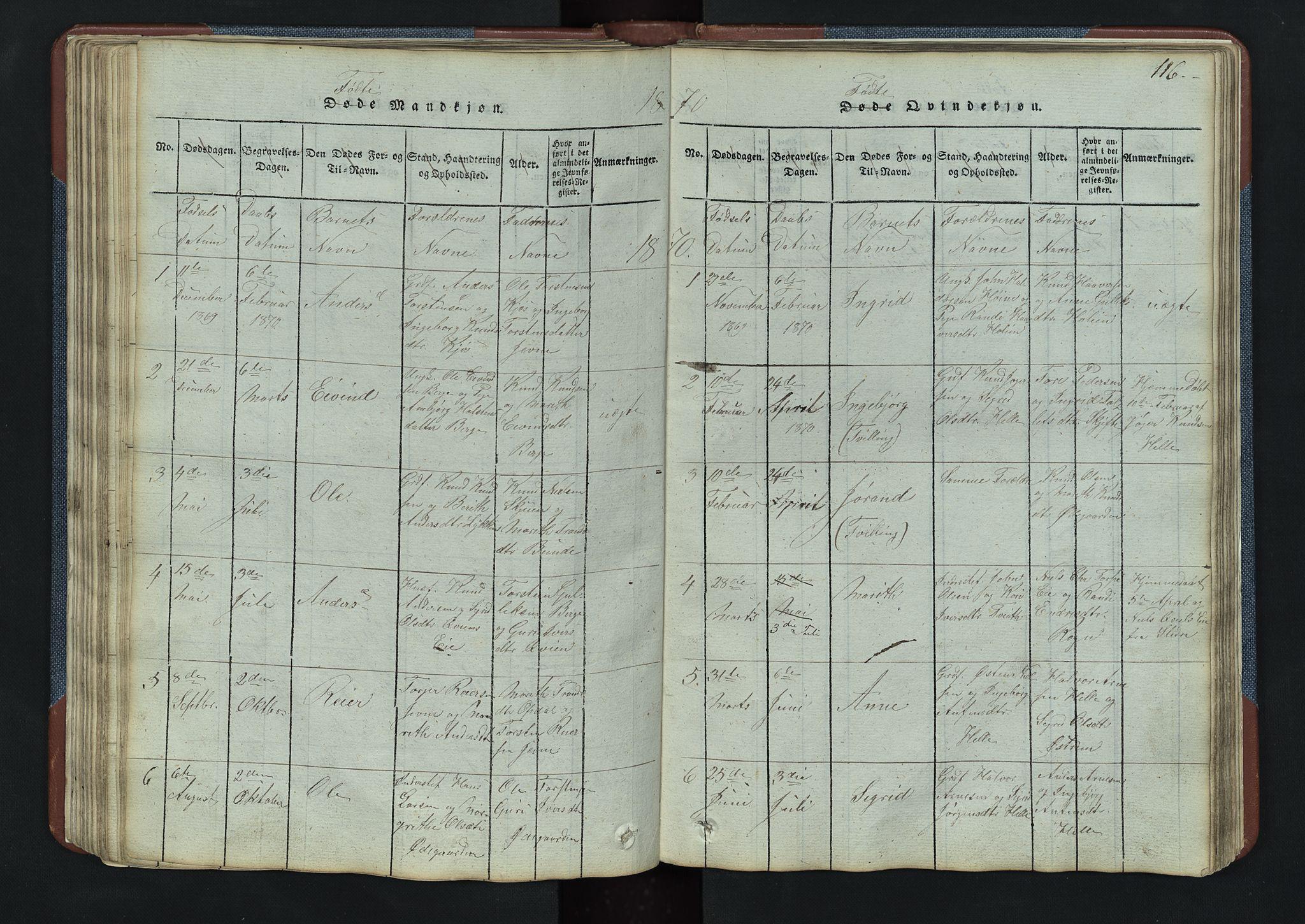 SAH, Vang prestekontor, Valdres, Klokkerbok nr. 3, 1814-1892, s. 116