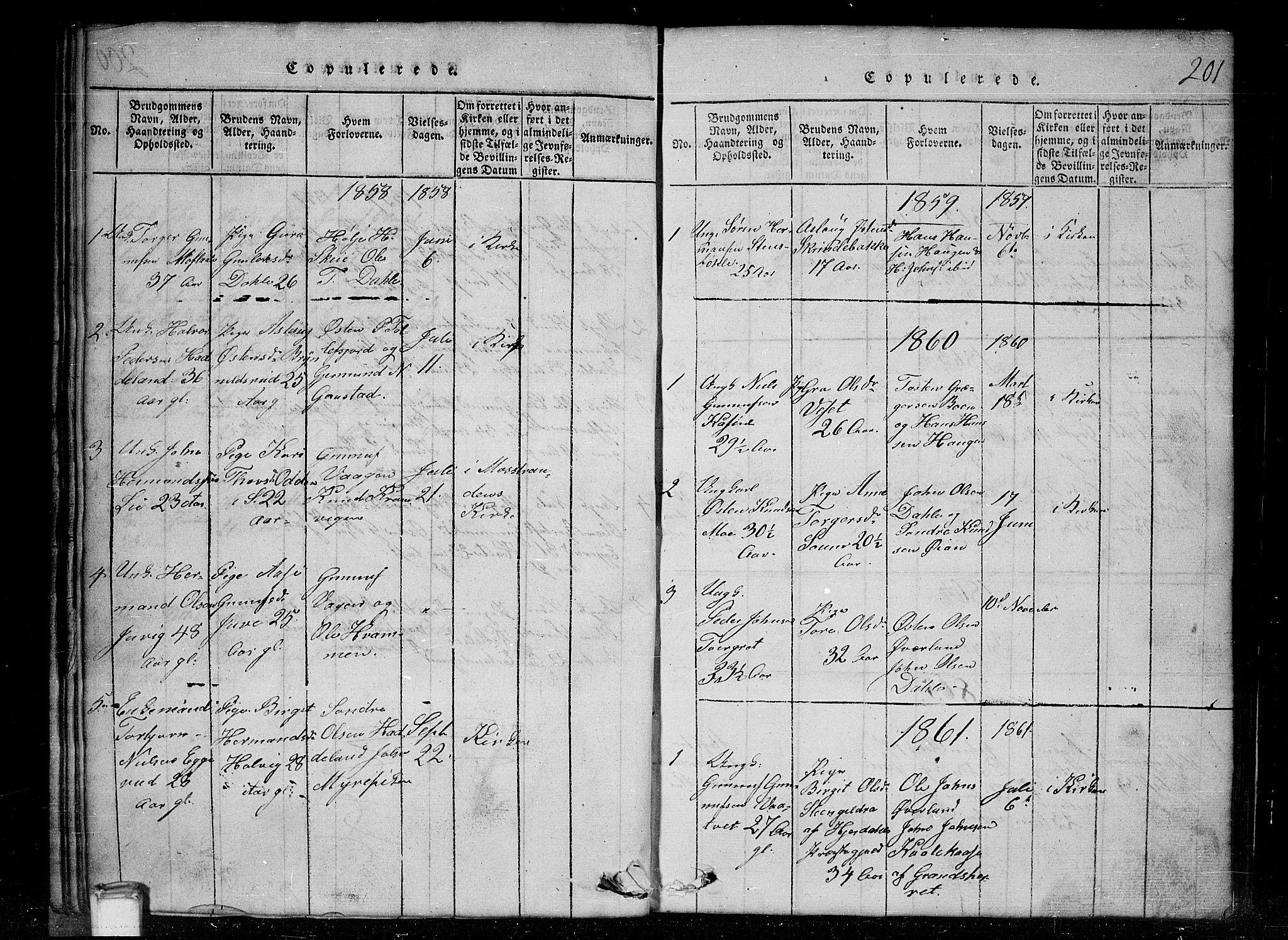 SAKO, Tinn kirkebøker, G/Gc/L0001: Klokkerbok nr. III 1, 1815-1879, s. 201