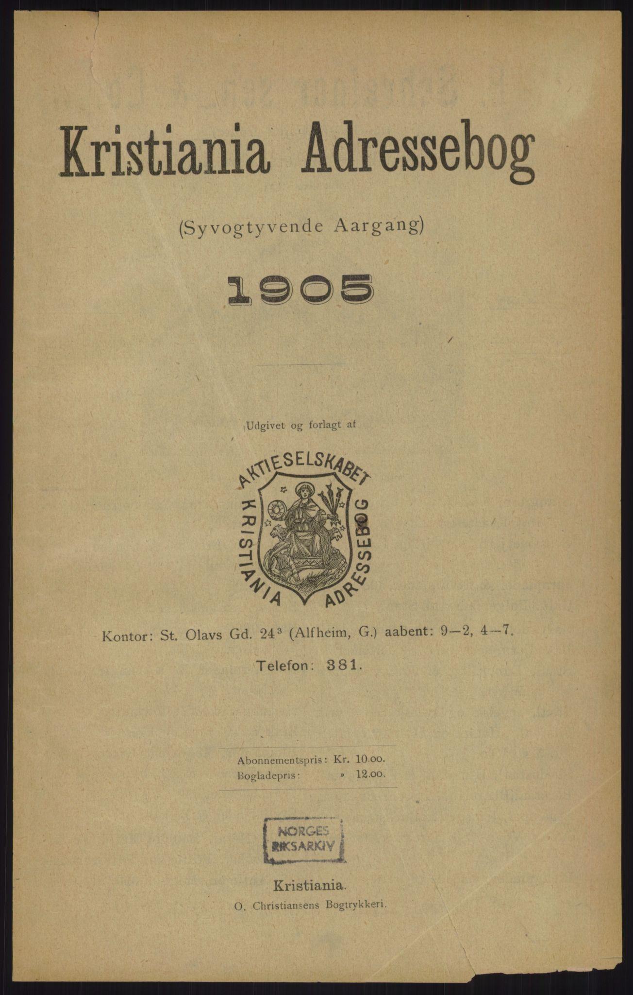 RA, Kristiania adressebok (publikasjon)*, 1905, s. upaginert