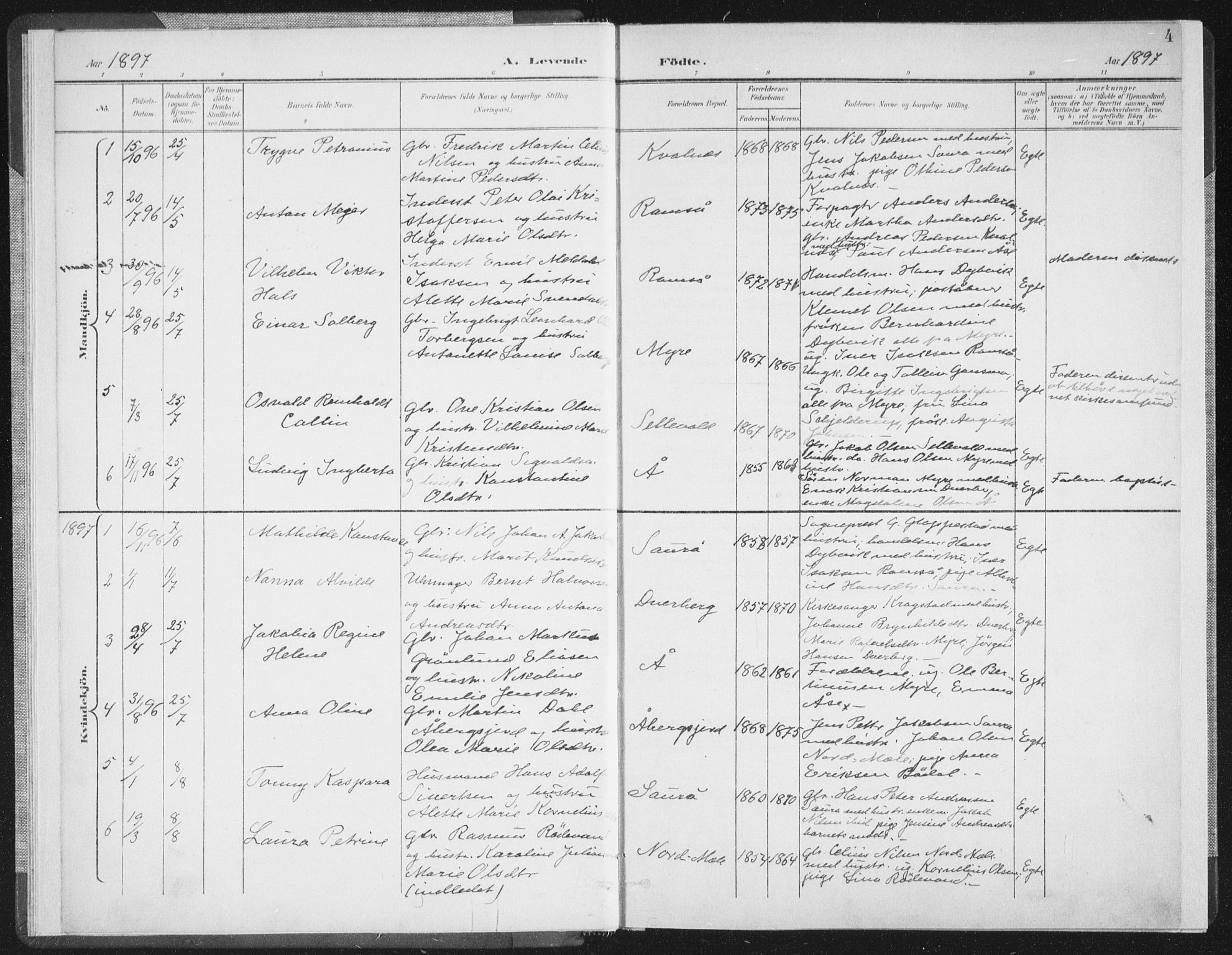 SAT, Ministerialprotokoller, klokkerbøker og fødselsregistre - Nordland, 897/L1400: Ministerialbok nr. 897A07, 1897-1908, s. 4