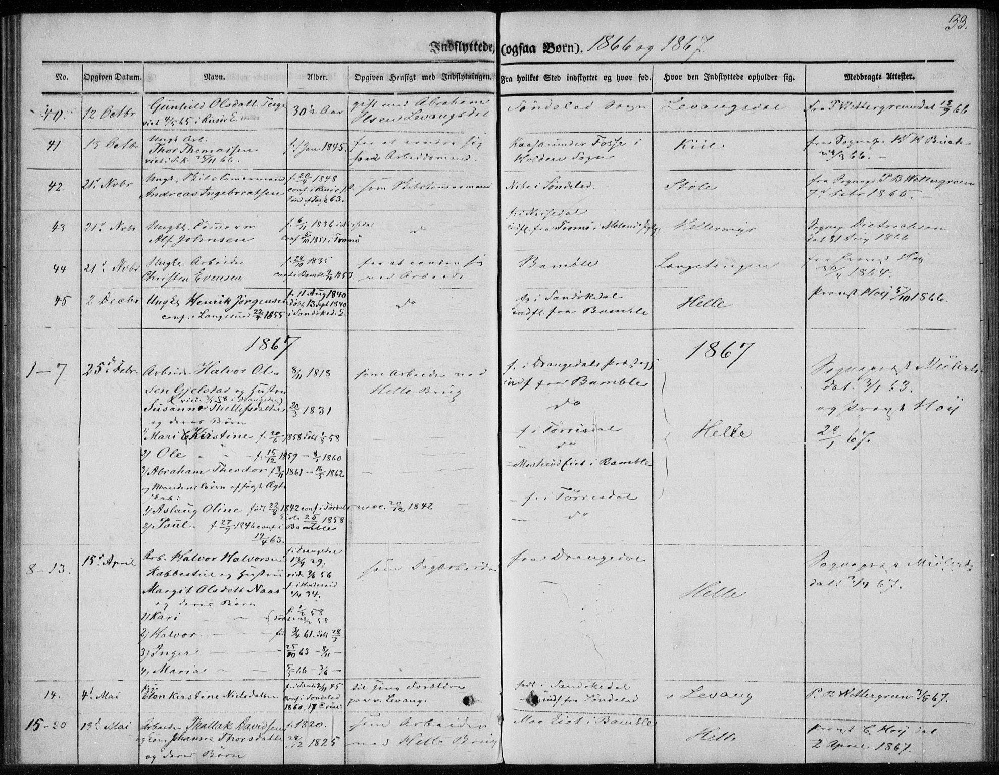 SAKO, Sannidal kirkebøker, F/Fa/L0013: Ministerialbok nr. 13, 1854-1873, s. 33