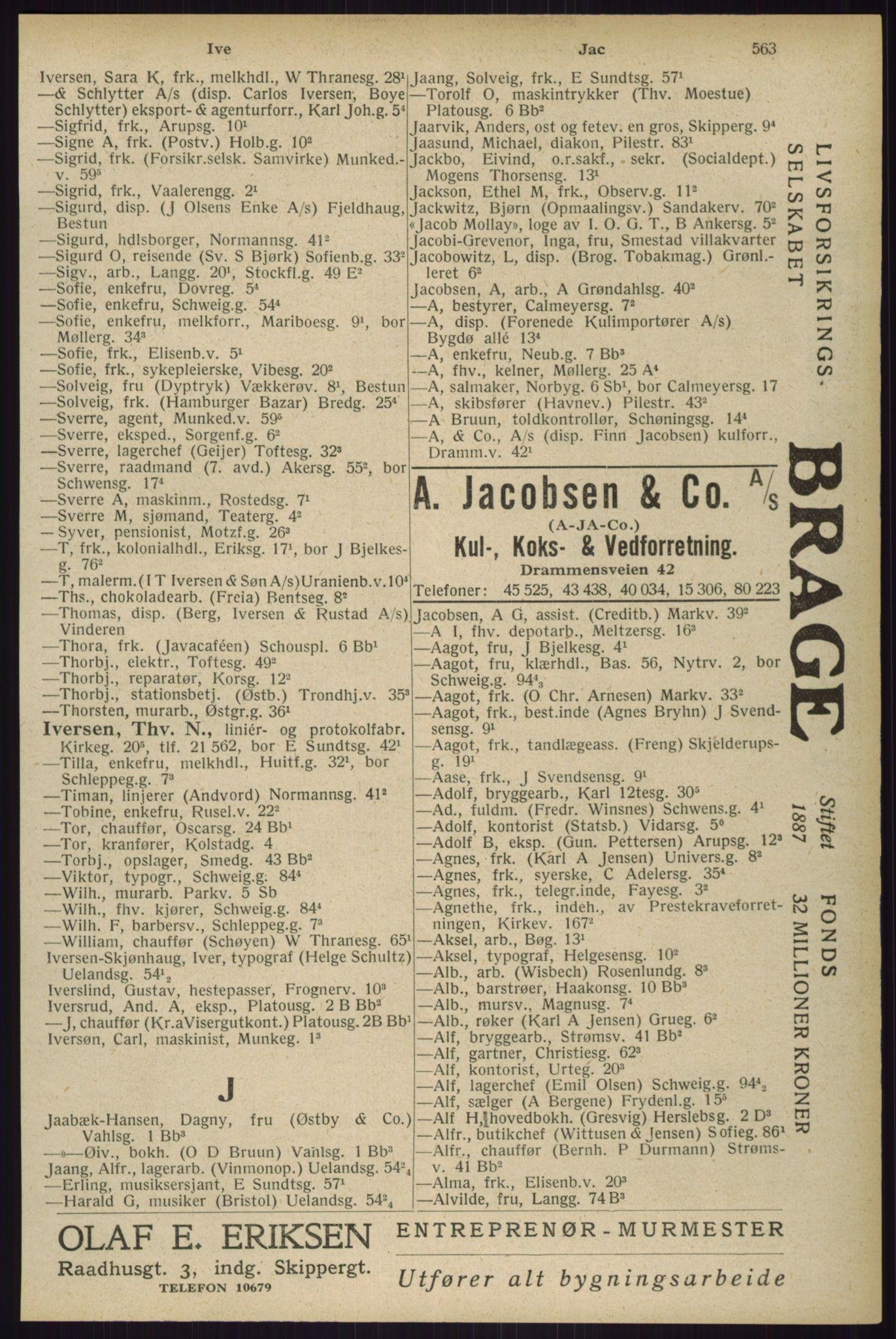 RA, Oslo adressebok (publikasjon)*, 1929, s. 563