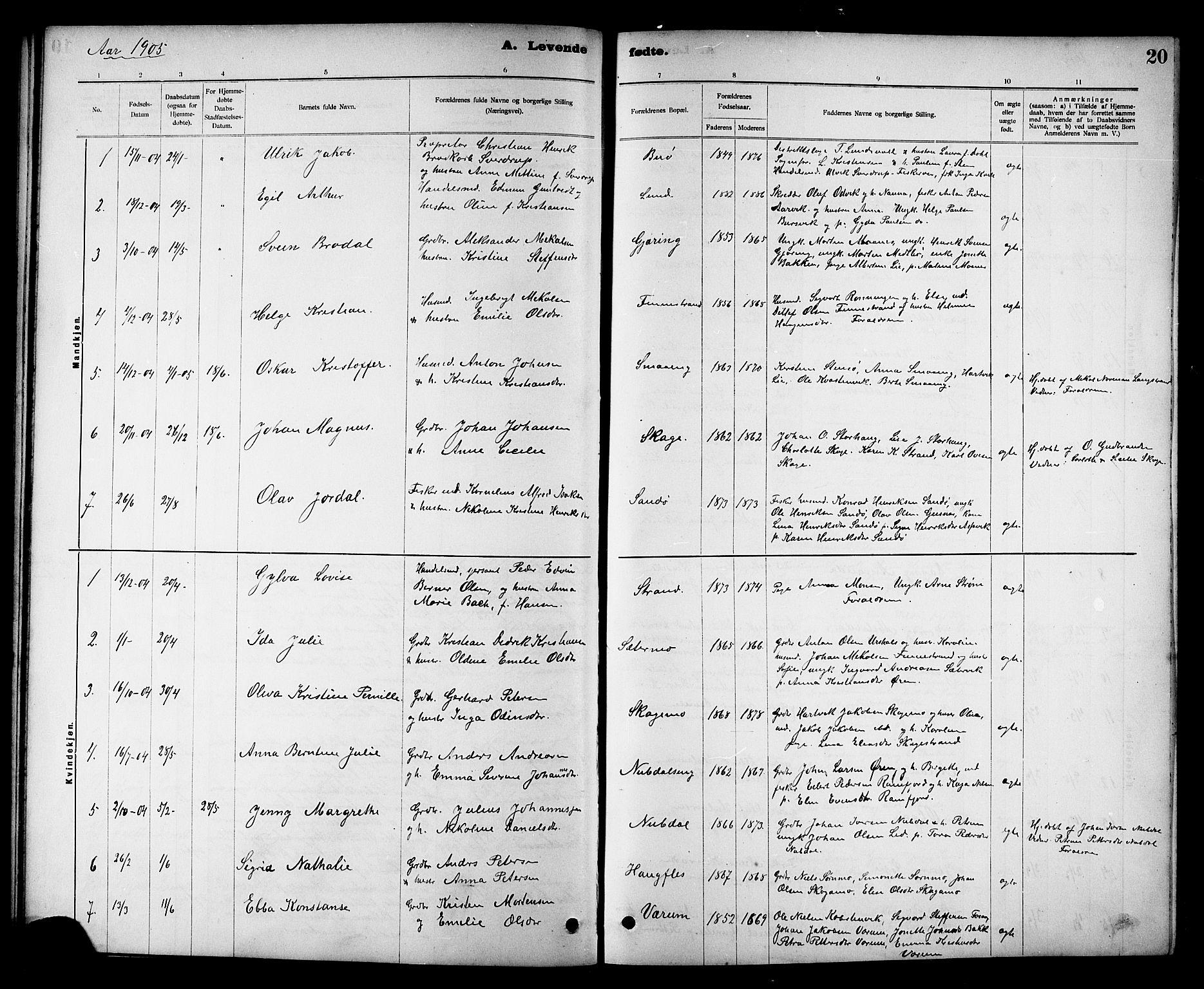 SAT, Ministerialprotokoller, klokkerbøker og fødselsregistre - Nord-Trøndelag, 780/L0652: Klokkerbok nr. 780C04, 1899-1911, s. 20