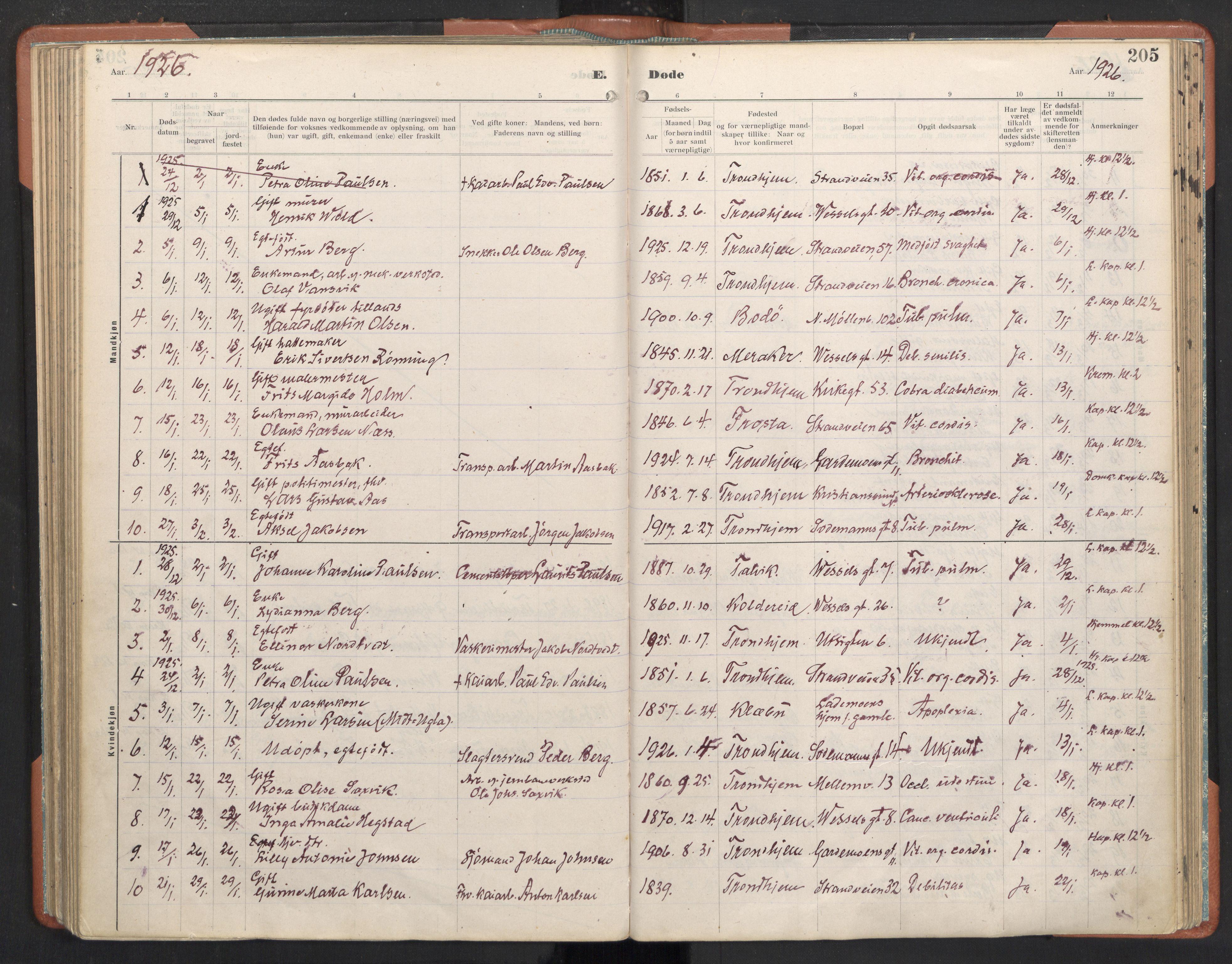 SAT, Ministerialprotokoller, klokkerbøker og fødselsregistre - Sør-Trøndelag, 605/L0245: Ministerialbok nr. 605A07, 1916-1938, s. 205