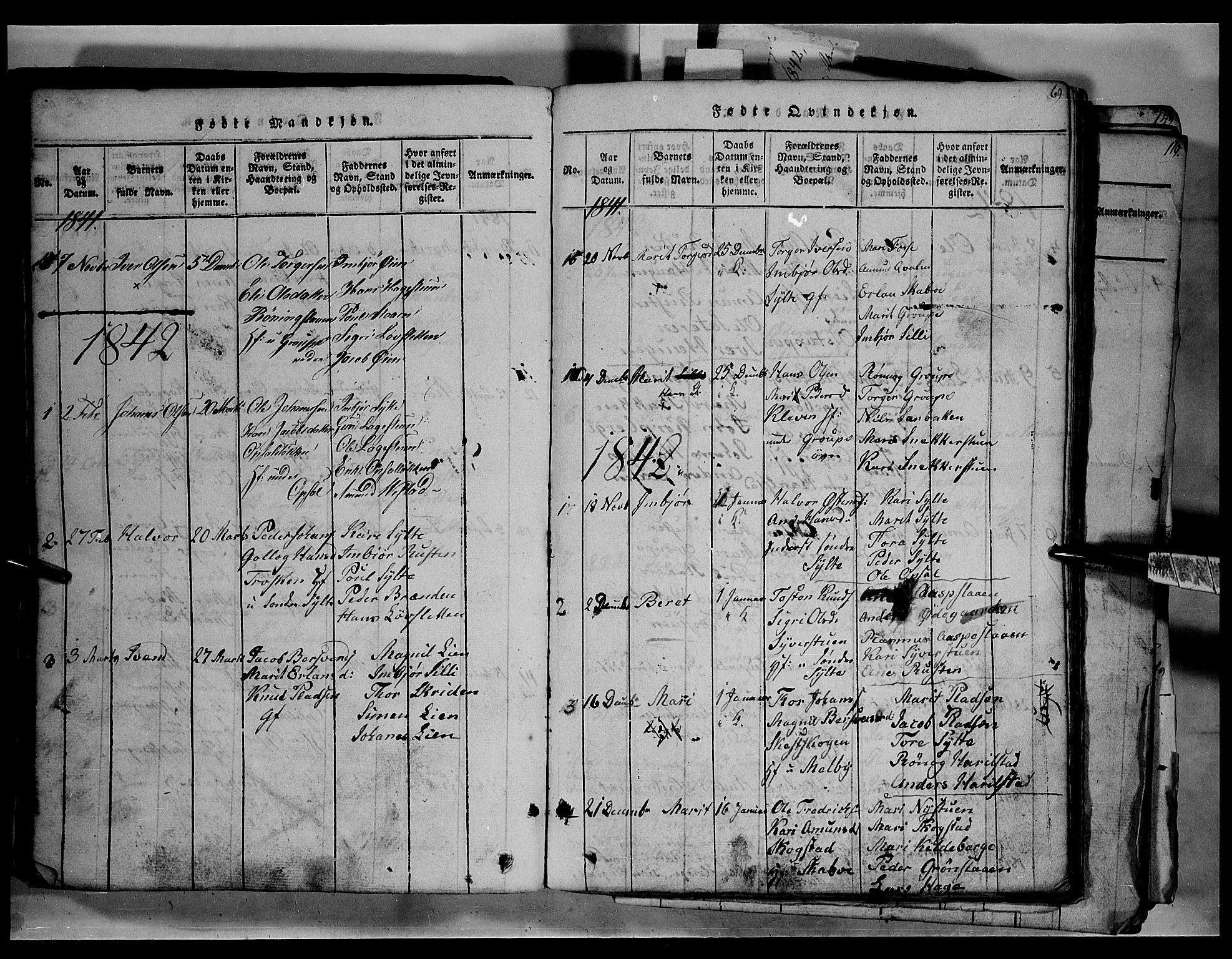 SAH, Fron prestekontor, H/Ha/Hab/L0003: Klokkerbok nr. 3, 1816-1850, s. 69
