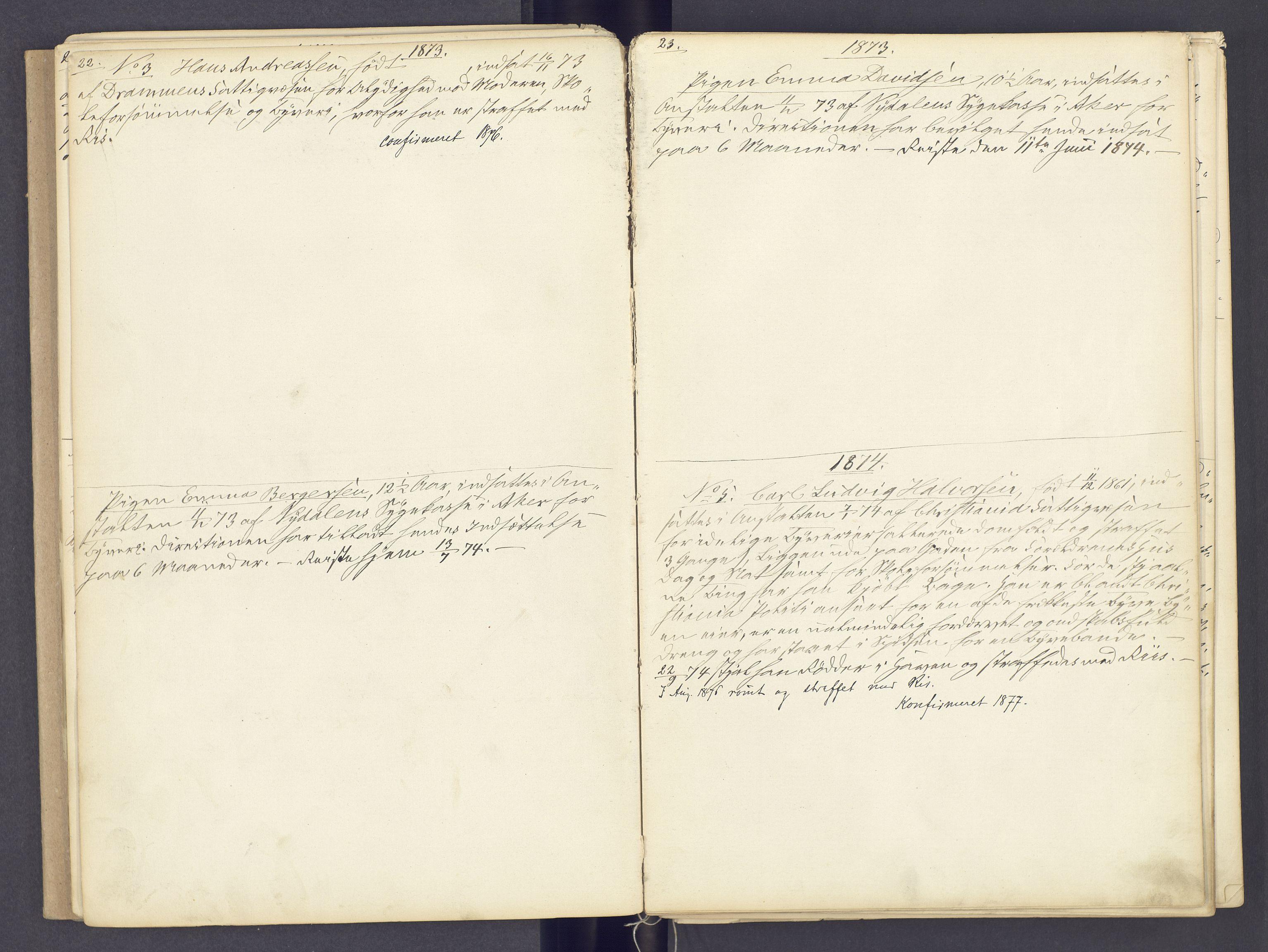 SAH, Toftes Gave, F/Fc/L0002: Elevprotokoll, 1870-1885, s. 22-23