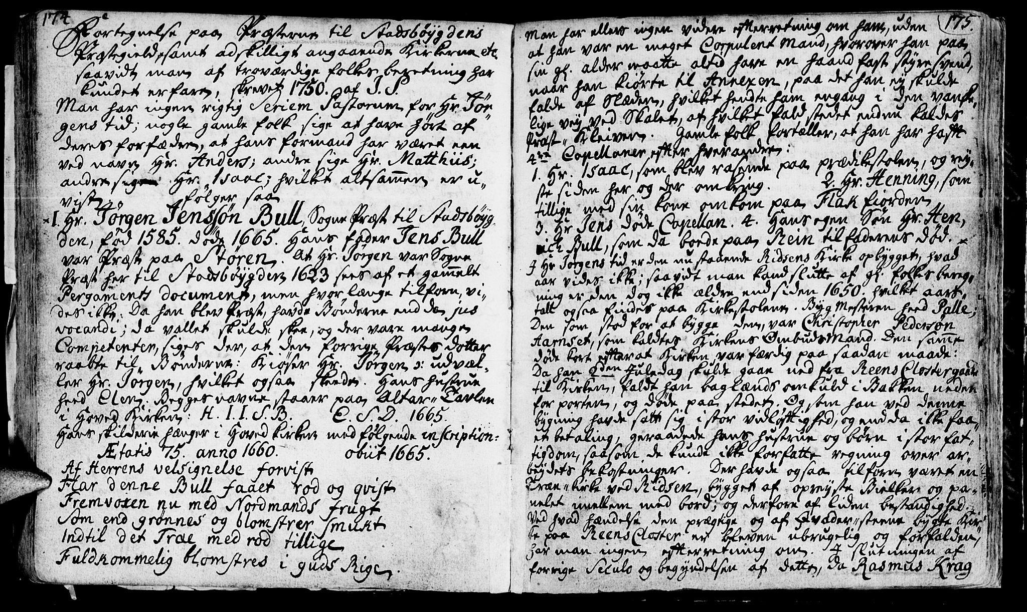 SAT, Ministerialprotokoller, klokkerbøker og fødselsregistre - Sør-Trøndelag, 646/L0604: Ministerialbok nr. 646A02, 1735-1750, s. 174-175