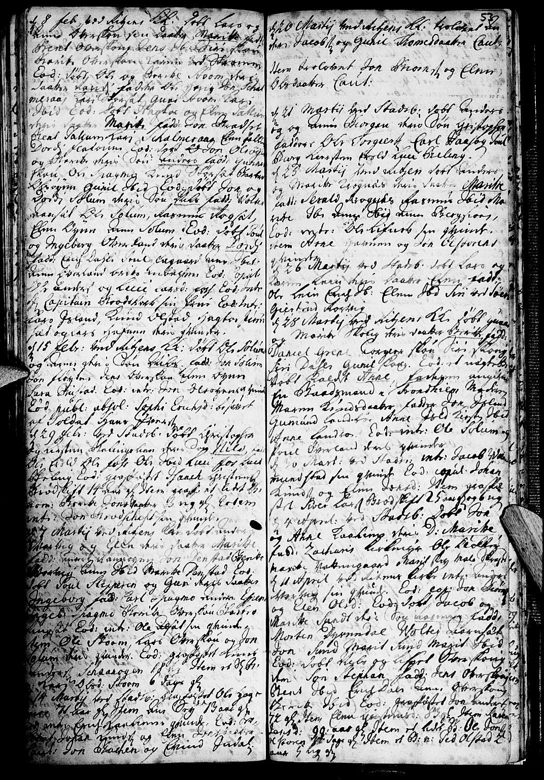 SAT, Ministerialprotokoller, klokkerbøker og fødselsregistre - Sør-Trøndelag, 646/L0603: Ministerialbok nr. 646A01, 1700-1734, s. 53