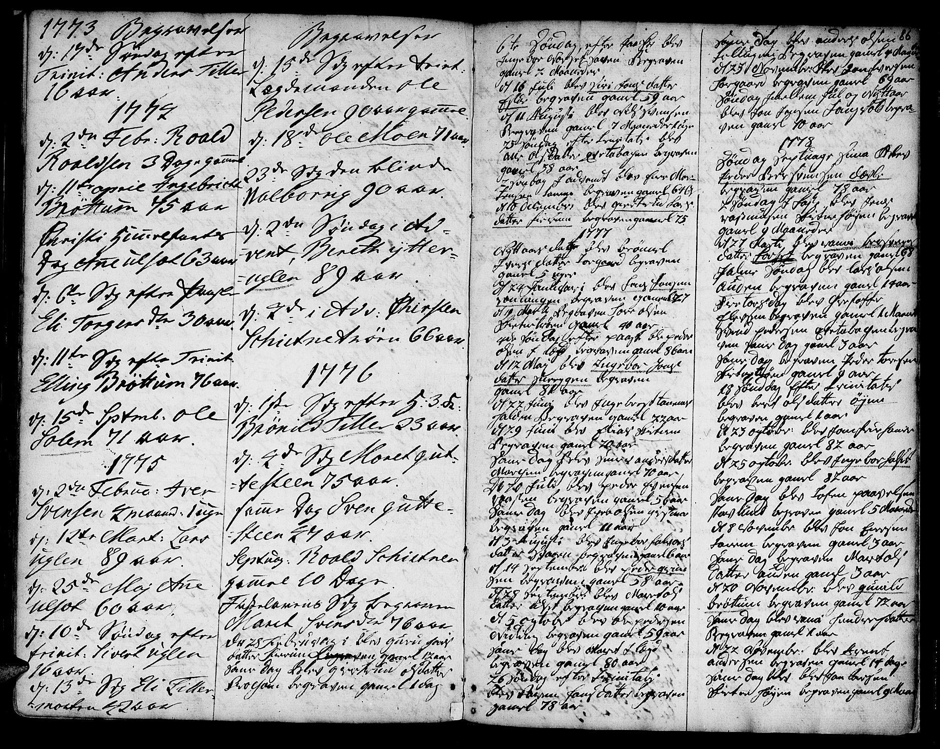SAT, Ministerialprotokoller, klokkerbøker og fødselsregistre - Sør-Trøndelag, 618/L0437: Ministerialbok nr. 618A02, 1749-1782, s. 86
