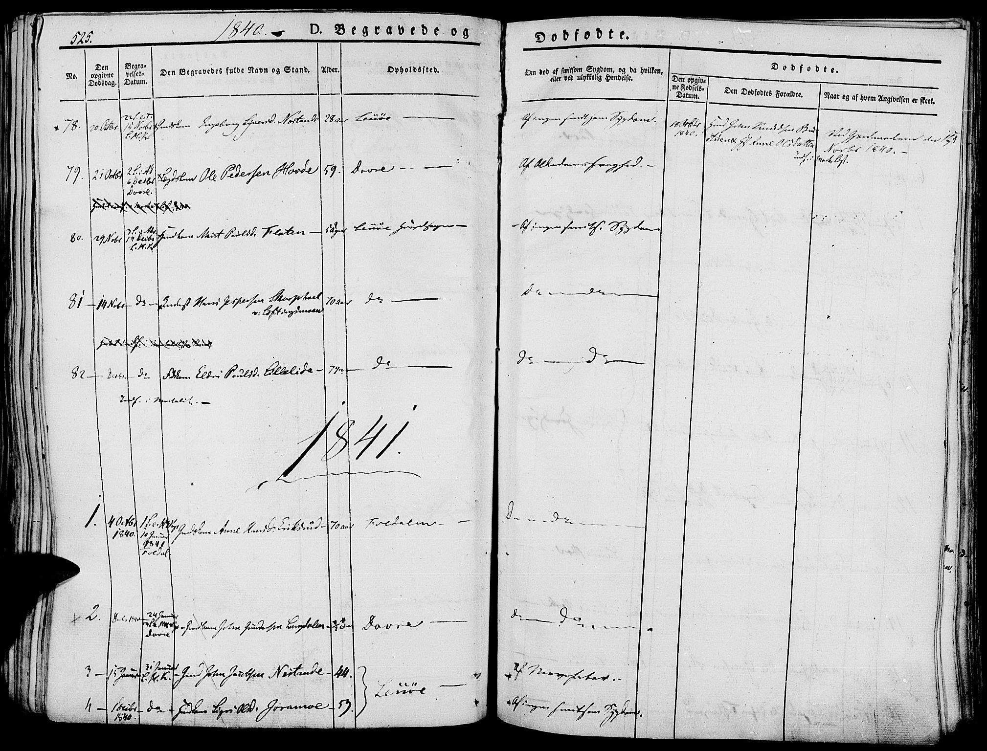 SAH, Lesja prestekontor, Ministerialbok nr. 5, 1830-1842, s. 525