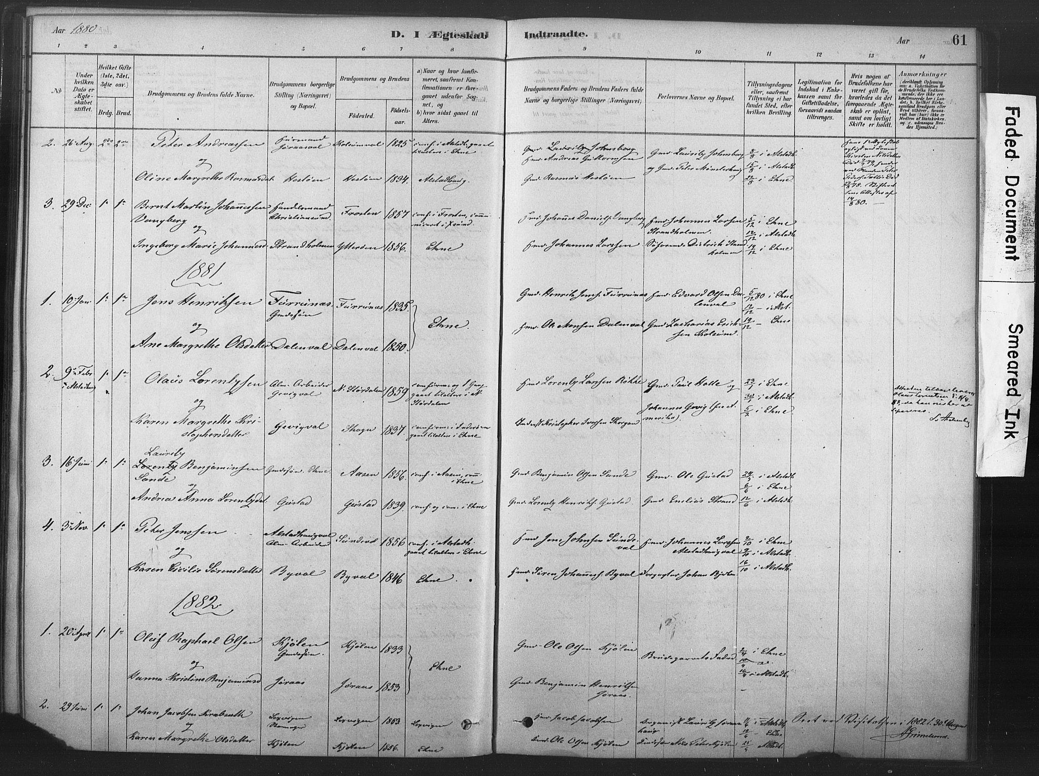 SAT, Ministerialprotokoller, klokkerbøker og fødselsregistre - Nord-Trøndelag, 719/L0178: Ministerialbok nr. 719A01, 1878-1900, s. 61