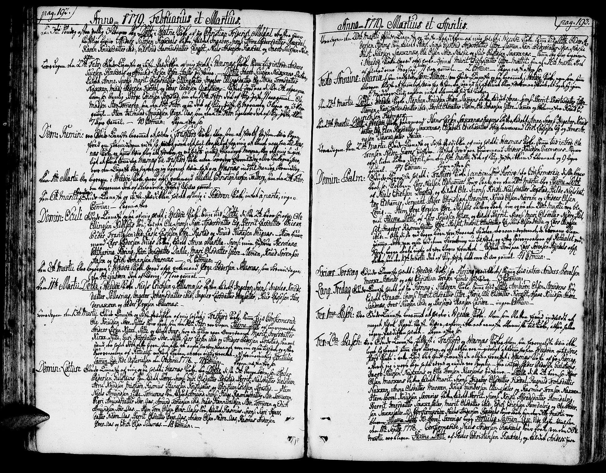 SAT, Ministerialprotokoller, klokkerbøker og fødselsregistre - Møre og Romsdal, 547/L0600: Ministerialbok nr. 547A02, 1765-1799, s. 192-193