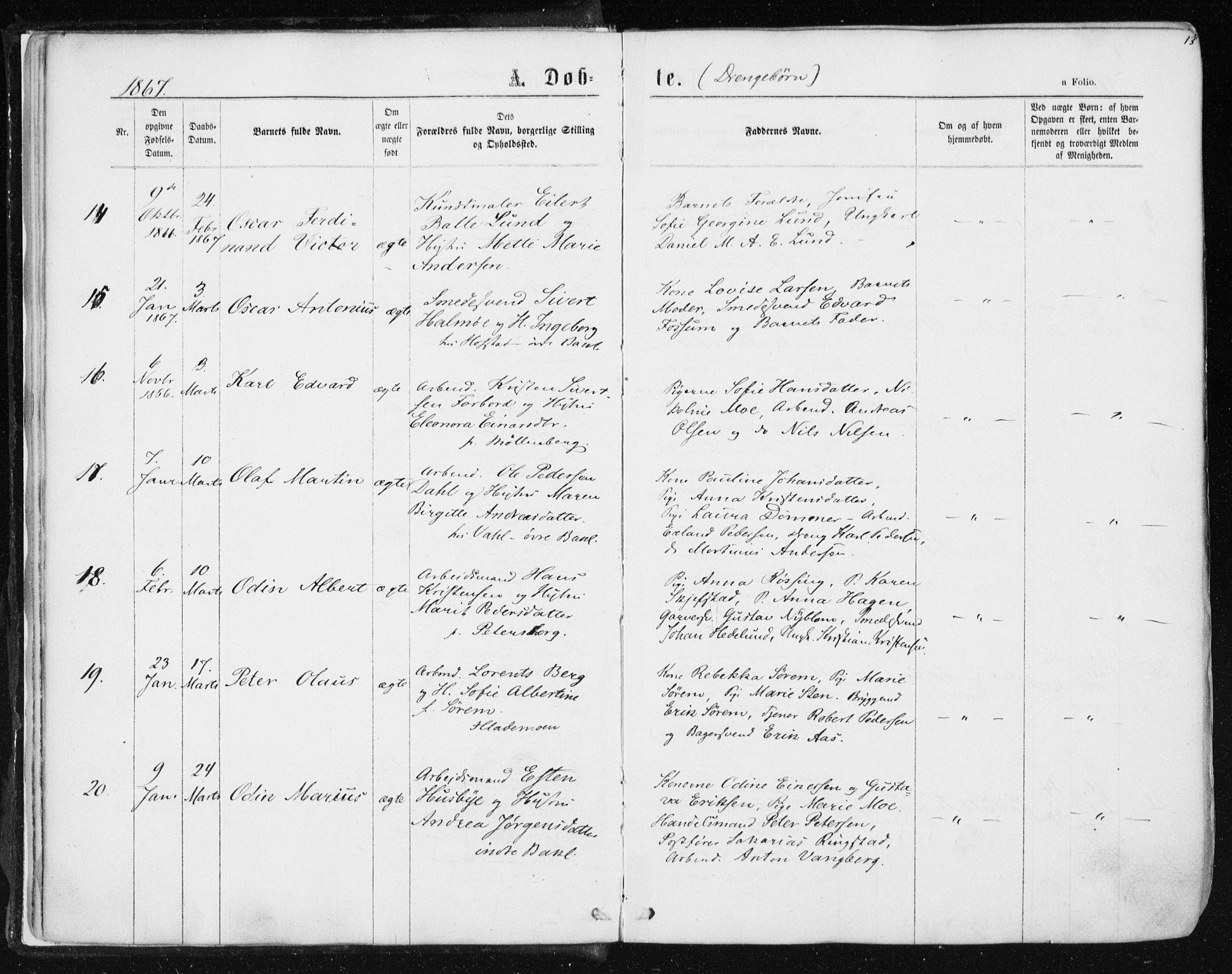 SAT, Ministerialprotokoller, klokkerbøker og fødselsregistre - Sør-Trøndelag, 604/L0186: Ministerialbok nr. 604A07, 1866-1877, s. 13