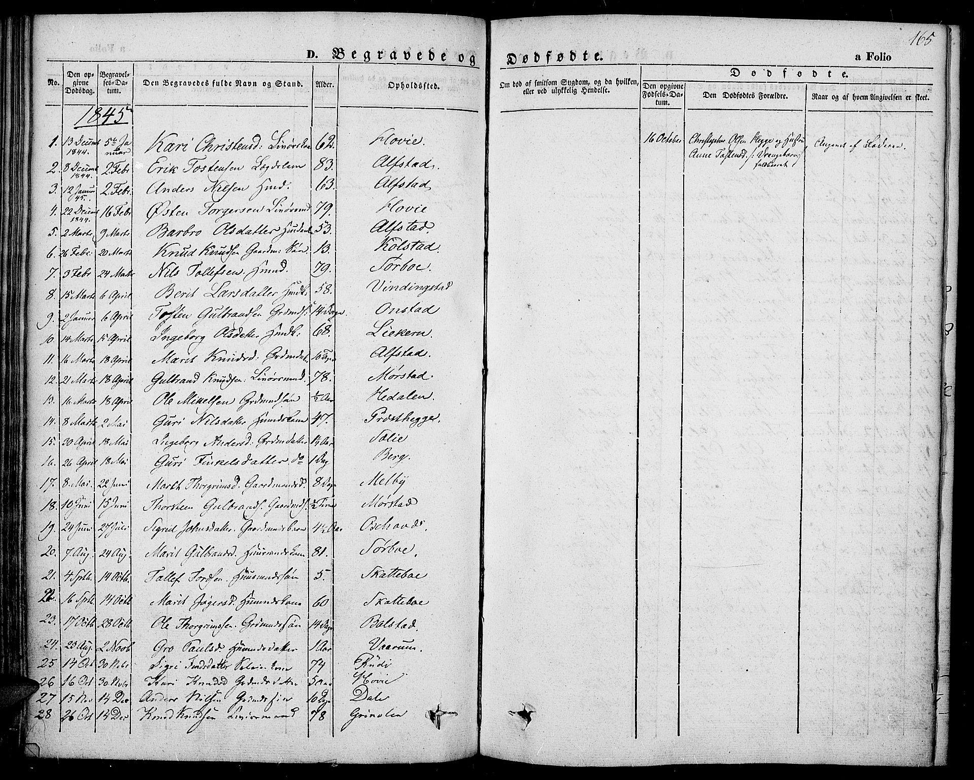 SAH, Slidre prestekontor, Ministerialbok nr. 4, 1831-1848, s. 165