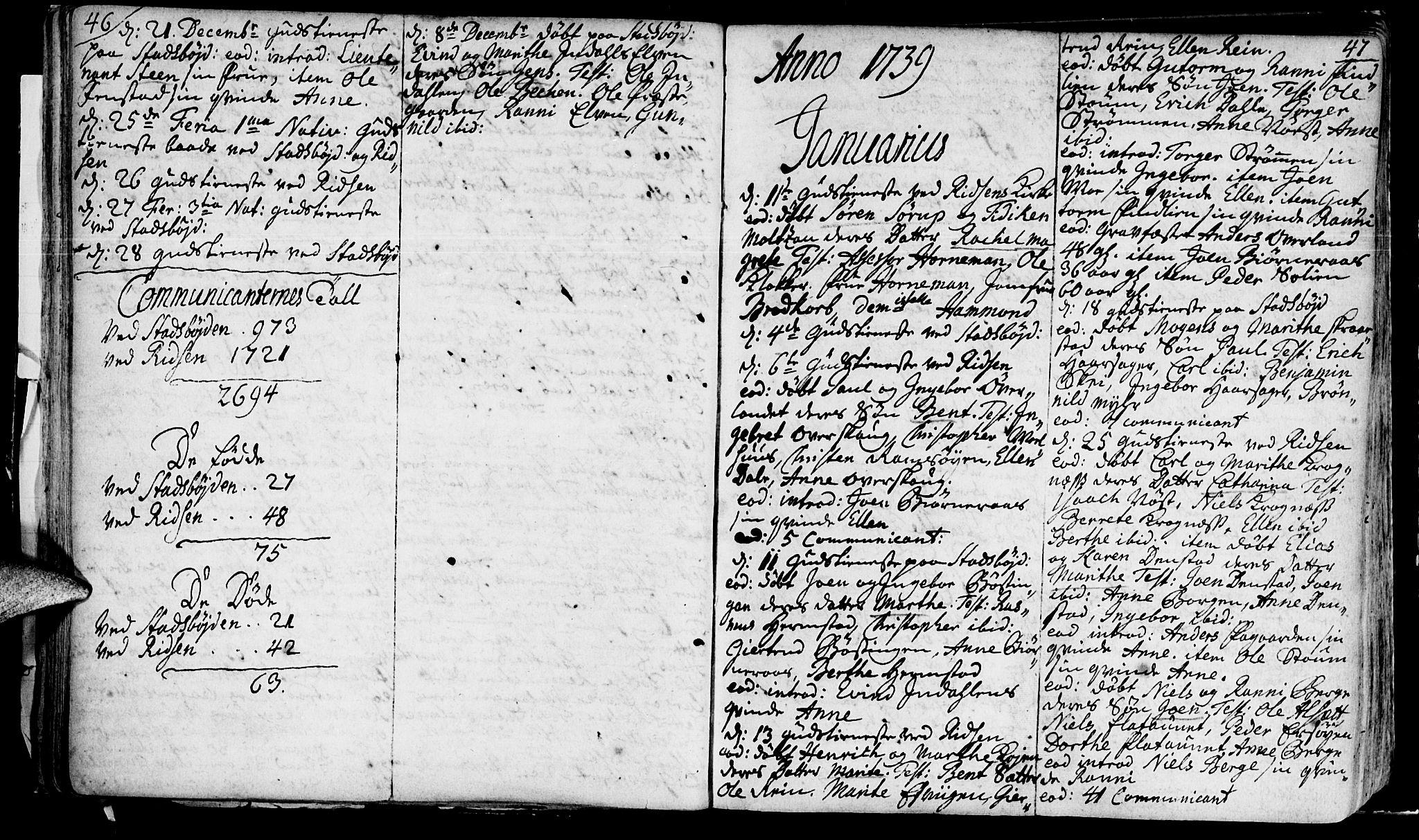 SAT, Ministerialprotokoller, klokkerbøker og fødselsregistre - Sør-Trøndelag, 646/L0604: Ministerialbok nr. 646A02, 1735-1750, s. 46-47