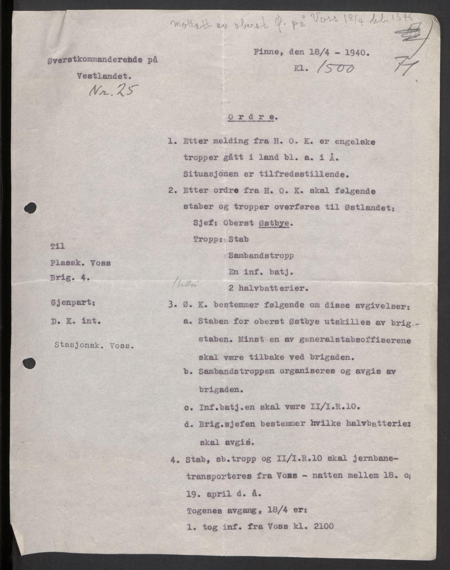 RA, Forsvaret, Forsvarets krigshistoriske avdeling, Y/Yb/L0104: II-C-11-430  -  4. Divisjon., 1940, s. 183
