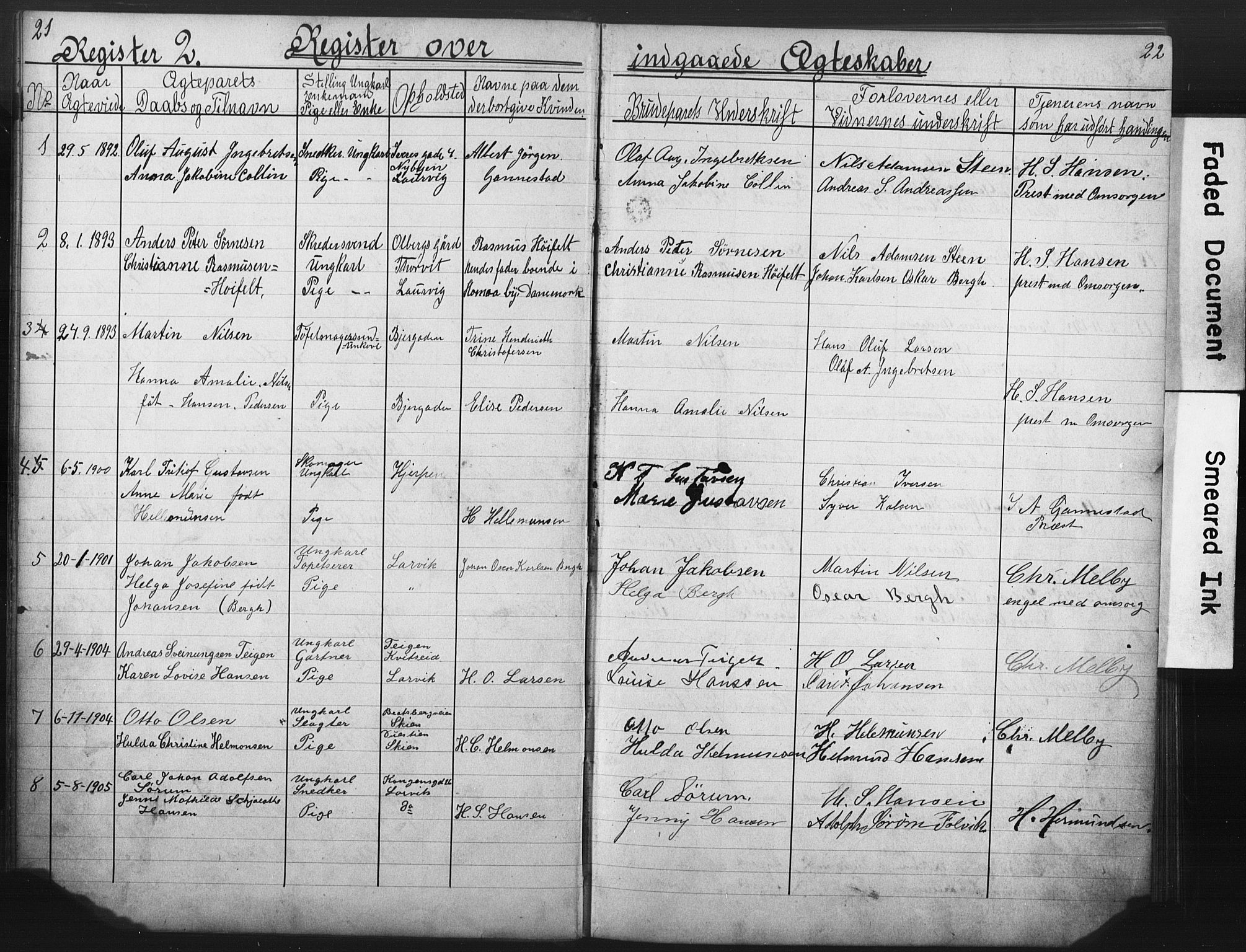 SAKO, Den katolsk-apostoliske menighet i Larvik, H/Ha/L0001: Dissenterprotokoll nr. 1, 1888-1926, s. 21-22