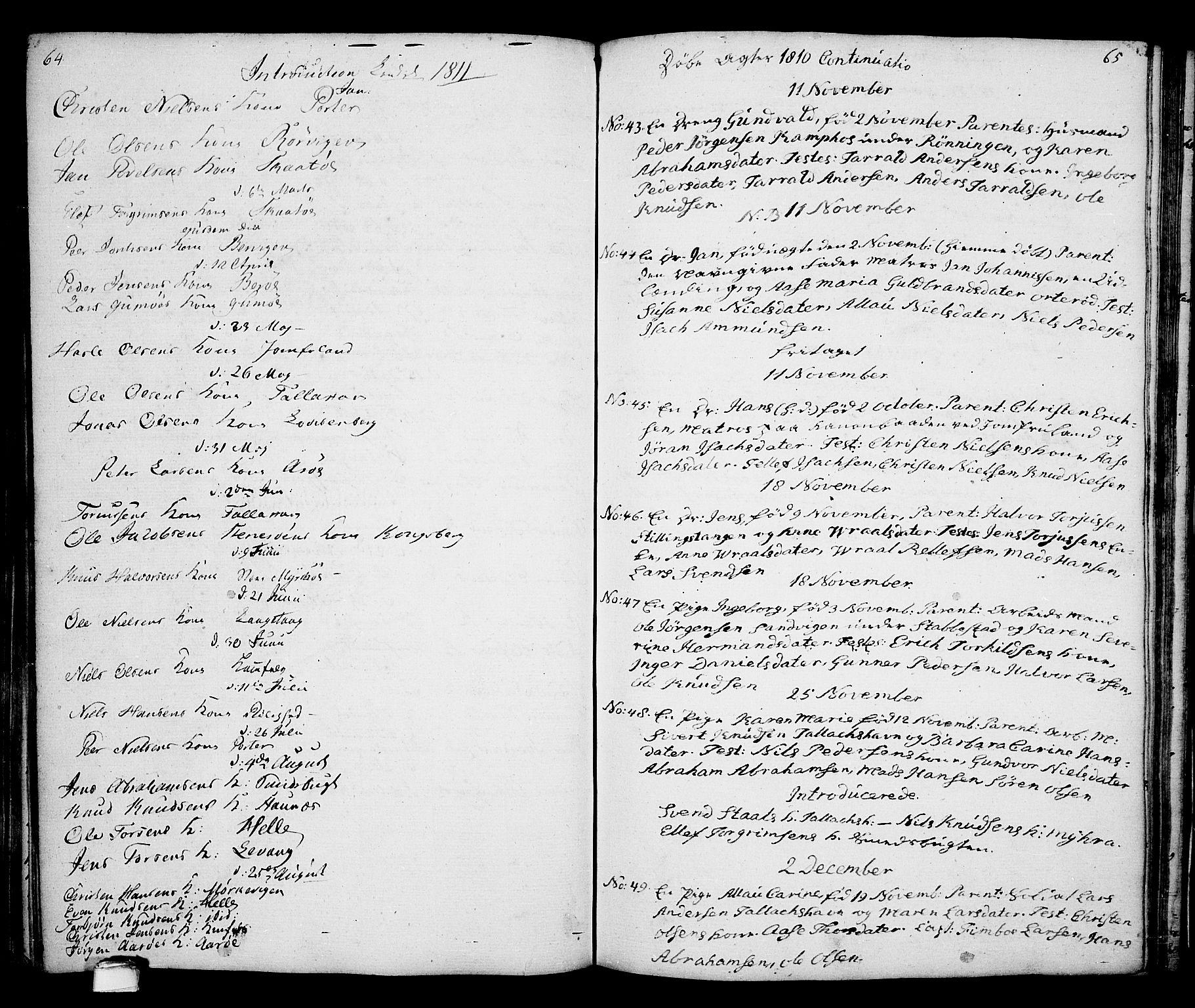 SAKO, Kragerø kirkebøker, G/Ga/L0001: Klokkerbok nr. 1 /2, 1806-1811, s. 64-65