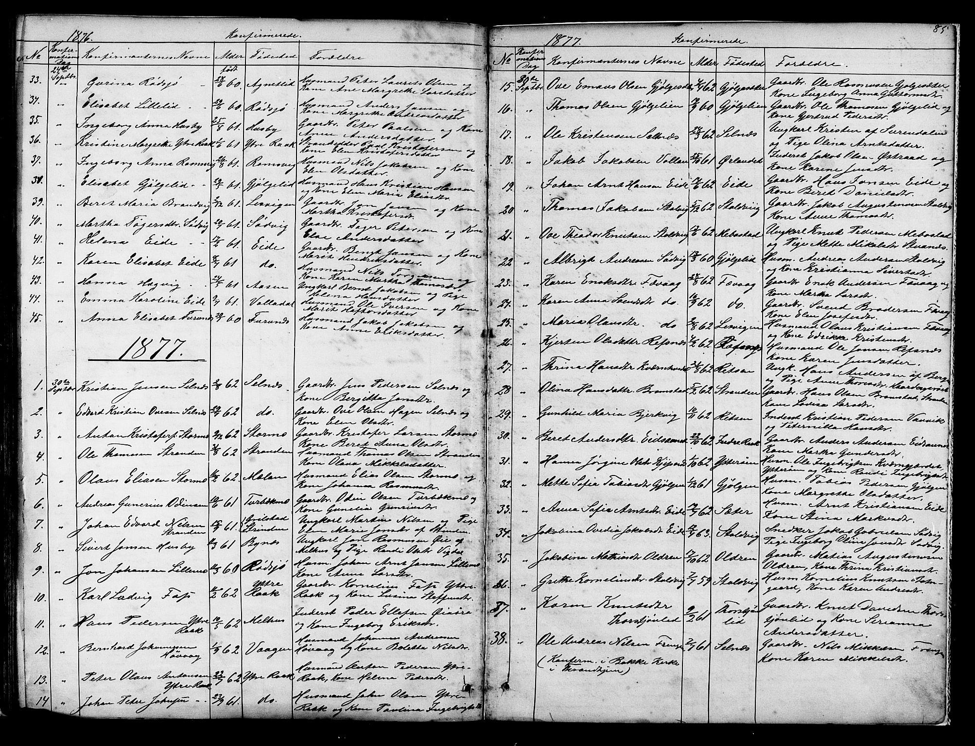 SAT, Ministerialprotokoller, klokkerbøker og fødselsregistre - Sør-Trøndelag, 653/L0657: Klokkerbok nr. 653C01, 1866-1893, s. 85