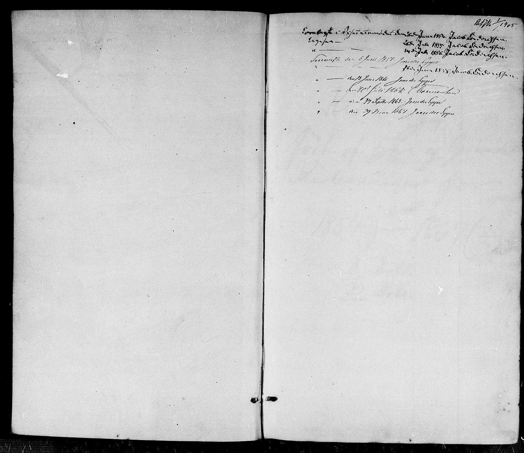 SAK, Fjære sokneprestkontor, F/Fb/L0008: Klokkerbok nr. B 8, 1854-1867