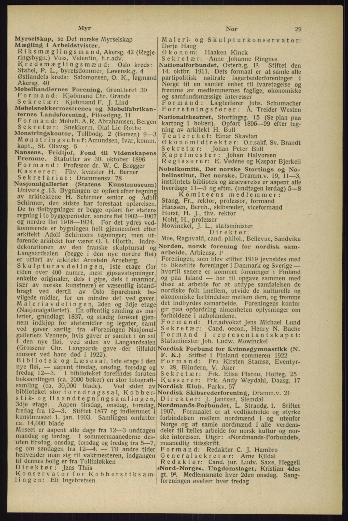 RA, Oslo adressebok (publikasjon)*, 1929, s. 29