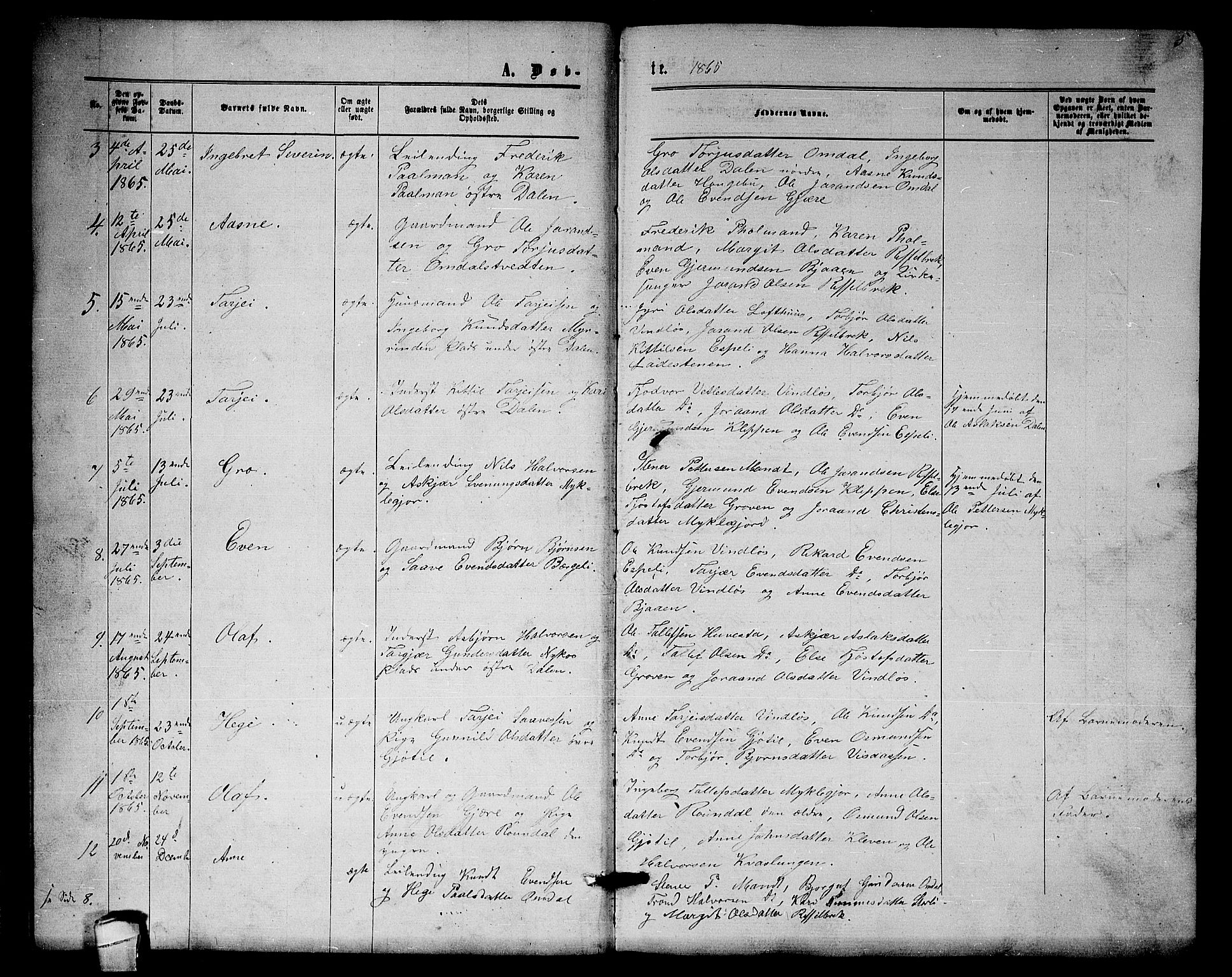 SAKO, Lårdal kirkebøker, G/Gb/L0002: Klokkerbok nr. II 2, 1865-1888, s. 5