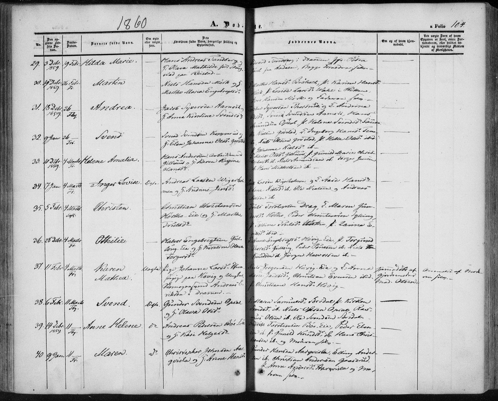 SAKO, Lier kirkebøker, F/Fa/L0012: Ministerialbok nr. I 12, 1854-1864, s. 104