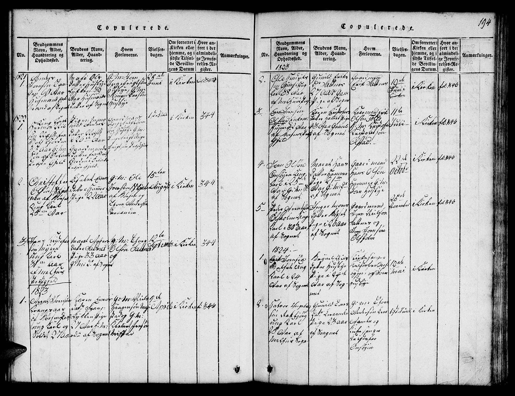 SAT, Ministerialprotokoller, klokkerbøker og fødselsregistre - Sør-Trøndelag, 666/L0788: Klokkerbok nr. 666C01, 1816-1847, s. 194