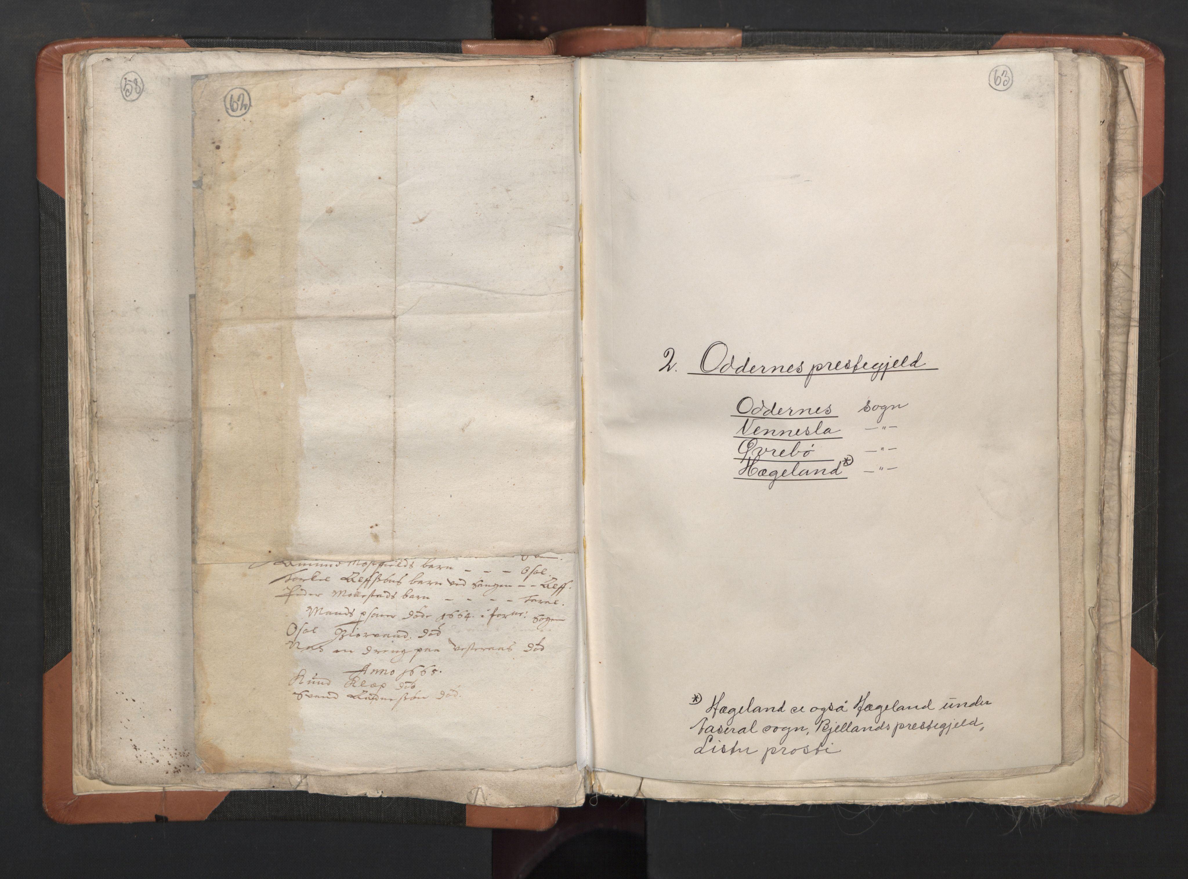 RA, Sogneprestenes manntall 1664-1666, nr. 15: Mandal prosti, 1664-1666, s. 62-63