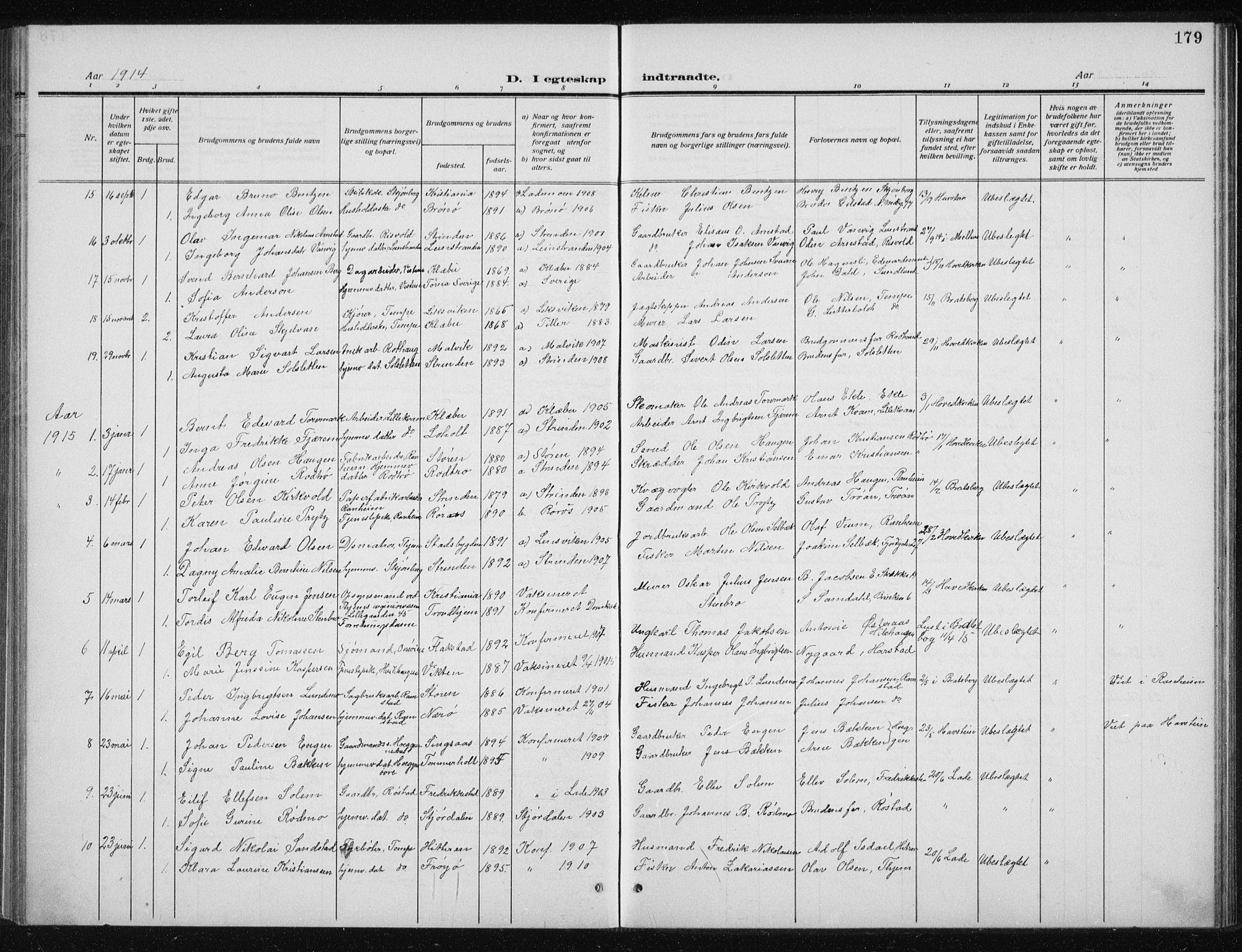 SAT, Ministerialprotokoller, klokkerbøker og fødselsregistre - Sør-Trøndelag, 606/L0314: Klokkerbok nr. 606C10, 1911-1937, s. 179