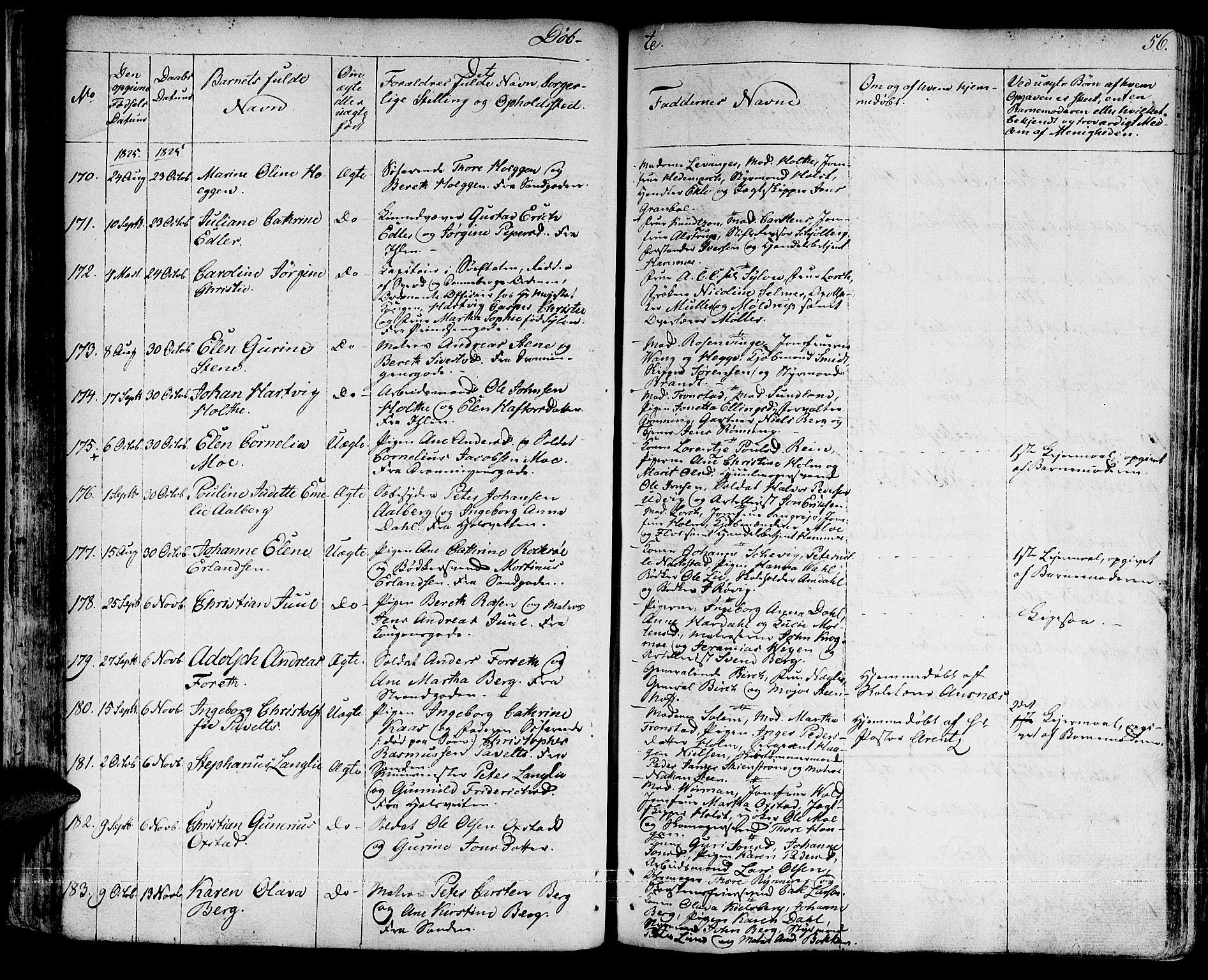 SAT, Ministerialprotokoller, klokkerbøker og fødselsregistre - Sør-Trøndelag, 601/L0045: Ministerialbok nr. 601A13, 1821-1831, s. 56
