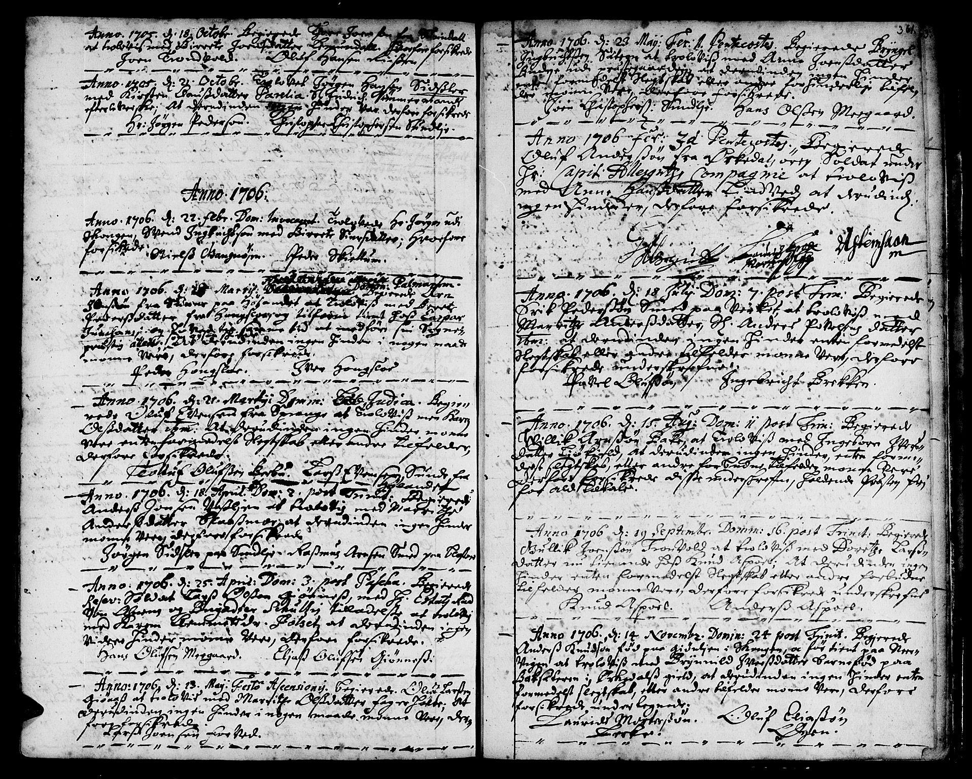 SAT, Ministerialprotokoller, klokkerbøker og fødselsregistre - Sør-Trøndelag, 668/L0801: Ministerialbok nr. 668A01, 1695-1716, s. 360-361