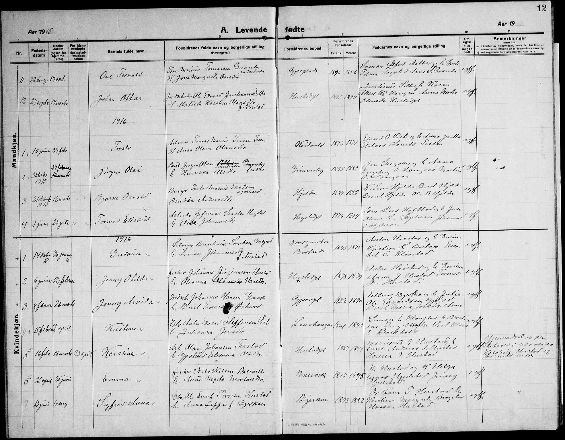 SAT, Ministerialprotokoller, klokkerbøker og fødselsregistre - Nord-Trøndelag, 732/L0319: Klokkerbok nr. 732C03, 1911-1945, s. 12