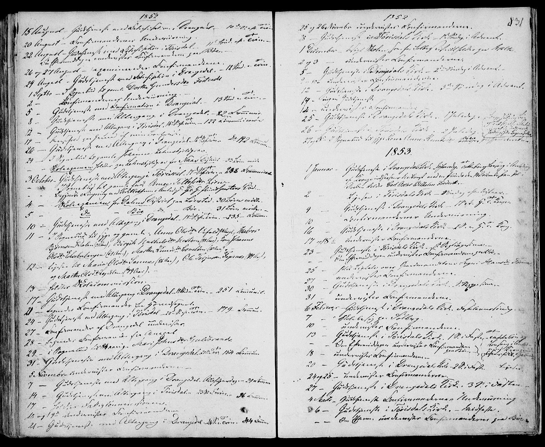 SAKO, Drangedal kirkebøker, F/Fa/L0007b: Ministerialbok nr. 7b, 1837-1856, s. 831