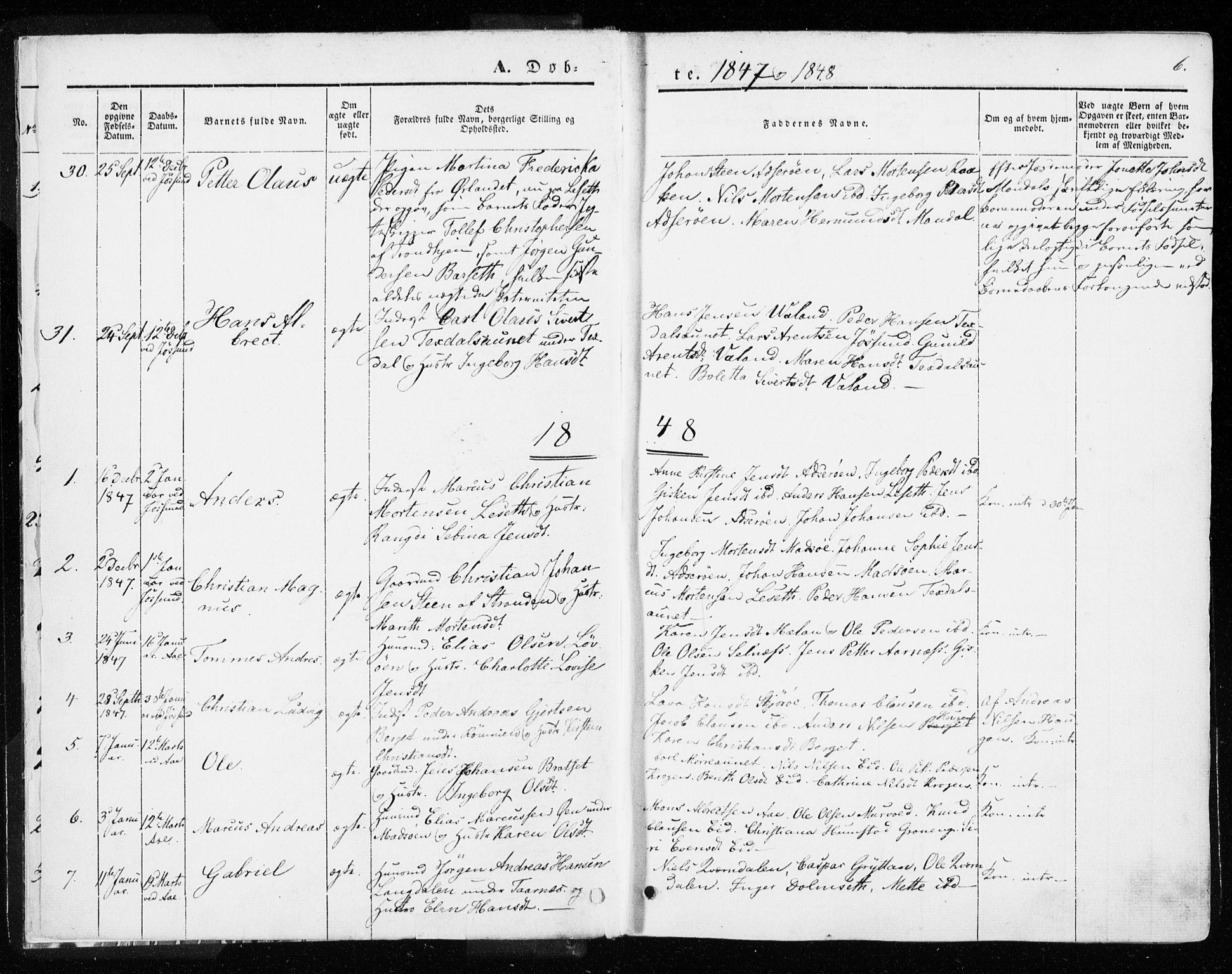 SAT, Ministerialprotokoller, klokkerbøker og fødselsregistre - Sør-Trøndelag, 655/L0677: Ministerialbok nr. 655A06, 1847-1860, s. 6