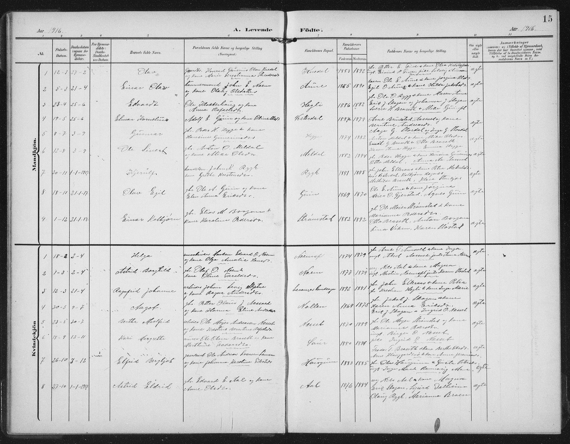 SAT, Ministerialprotokoller, klokkerbøker og fødselsregistre - Nord-Trøndelag, 747/L0460: Klokkerbok nr. 747C02, 1908-1939, s. 15