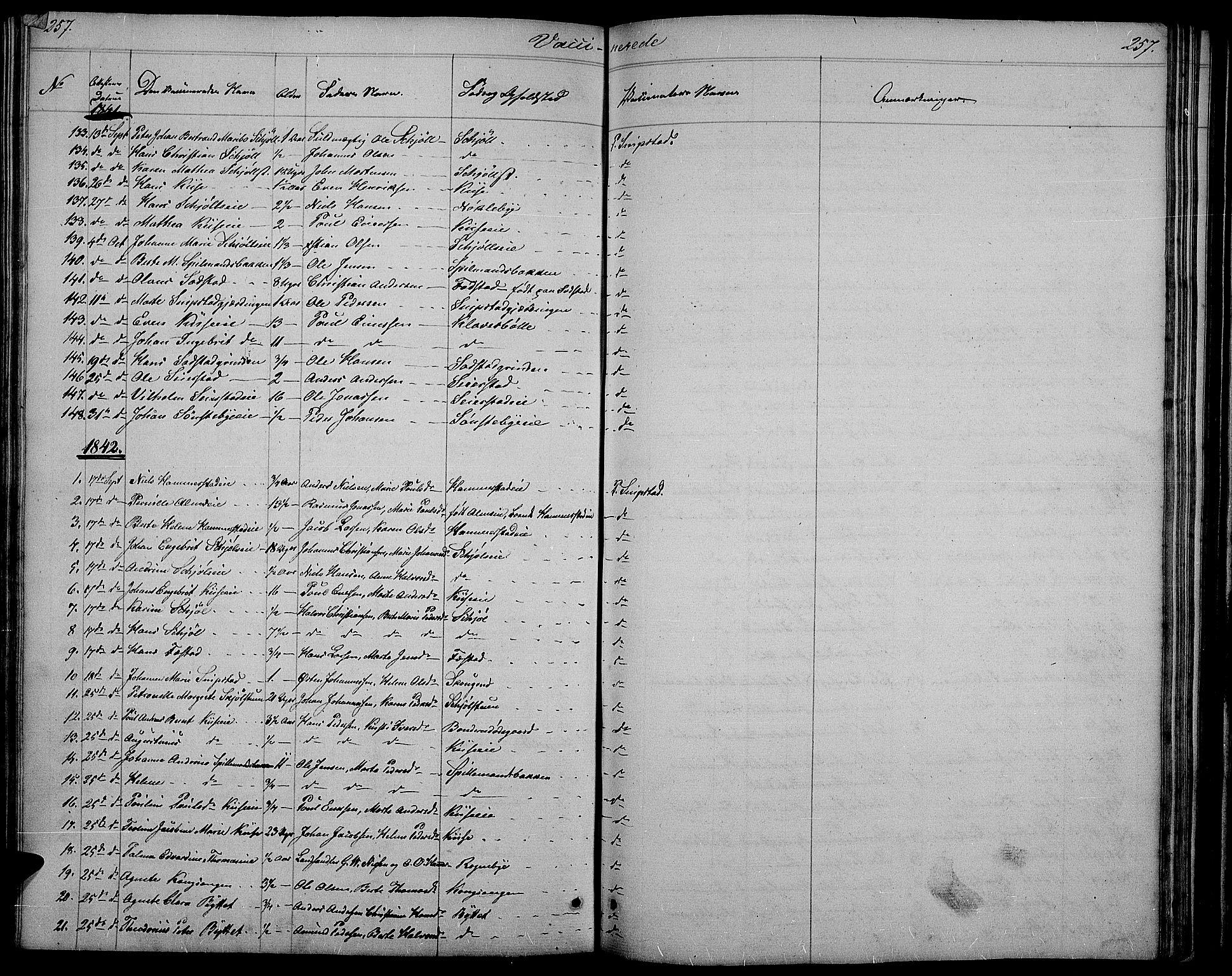 SAH, Østre Toten prestekontor, Klokkerbok nr. 2, 1840-1847, s. 257