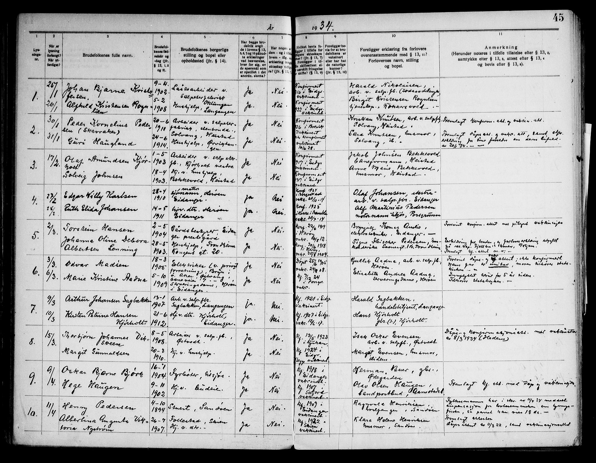 SAKO, Eidanger kirkebøker, H/Ha/L0003: Lysningsprotokoll nr. 3, 1919-1948, s. 45