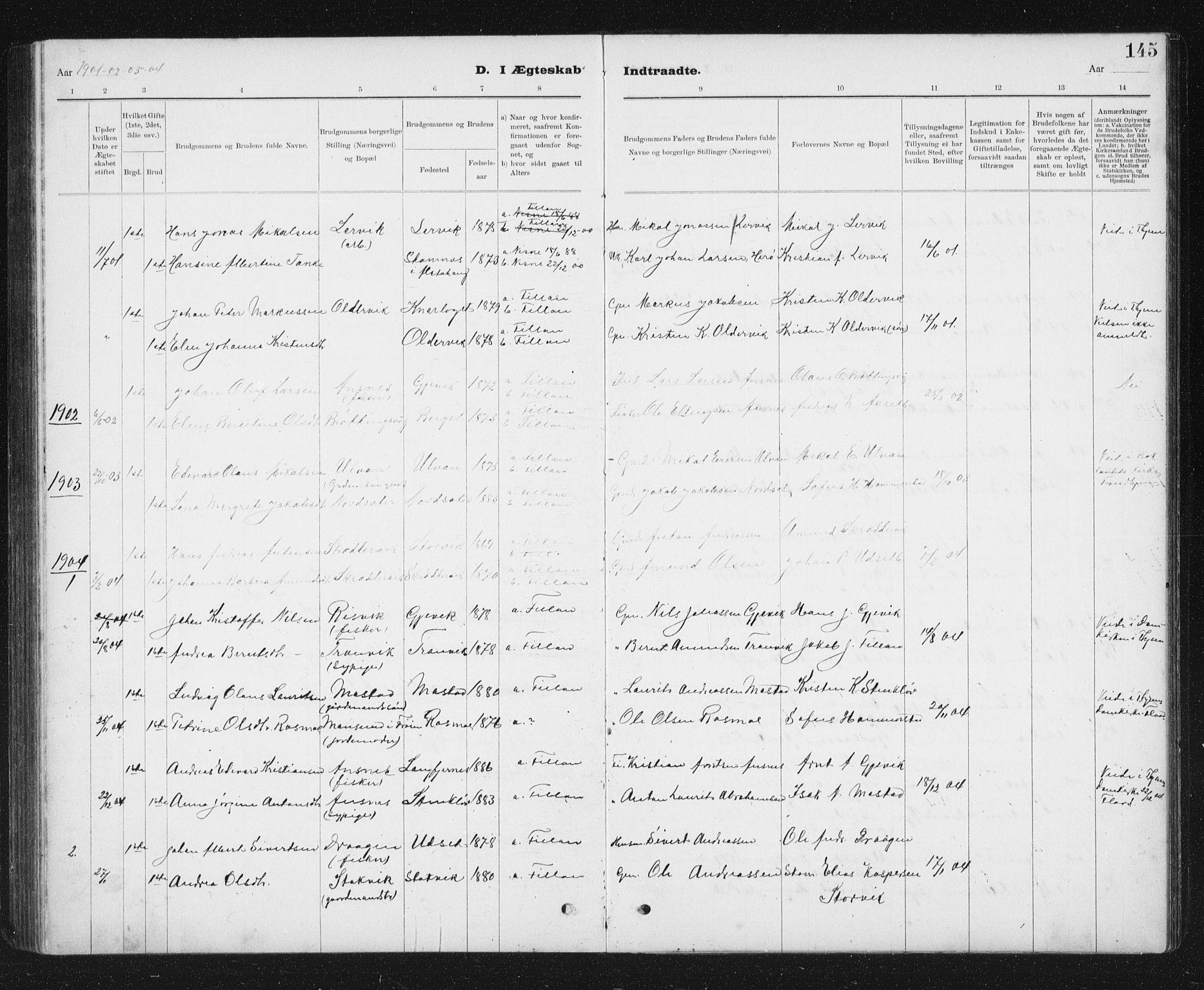 SAT, Ministerialprotokoller, klokkerbøker og fødselsregistre - Sør-Trøndelag, 637/L0563: Klokkerbok nr. 637C04, 1899-1940, s. 145