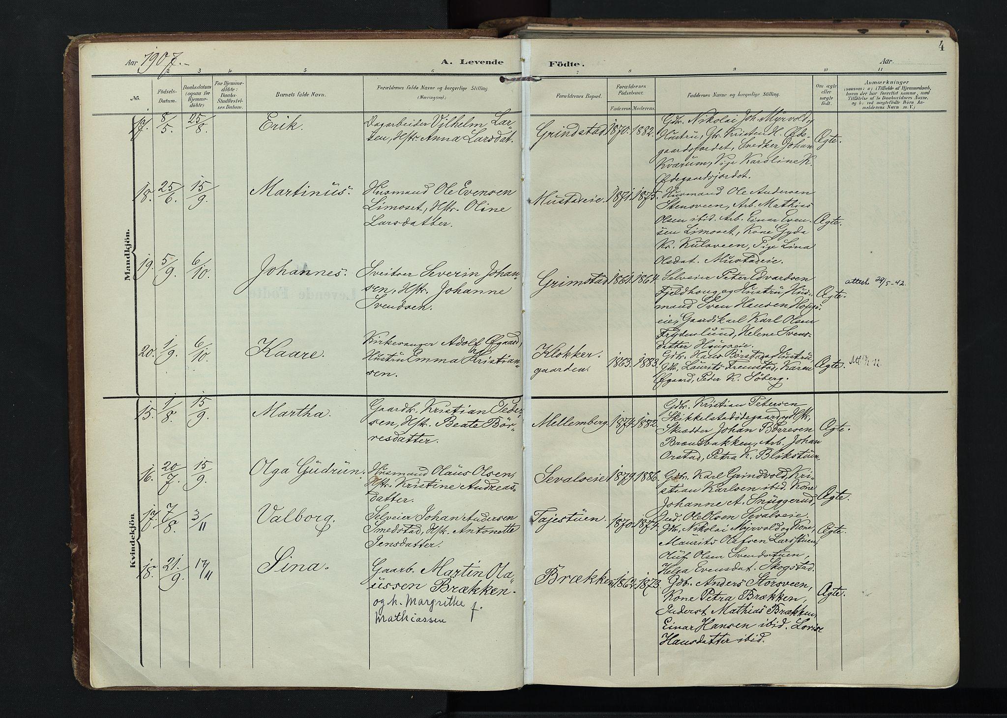 SAH, Vardal prestekontor, H/Ha/Haa/L0020: Ministerialbok nr. 20, 1907-1921, s. 4