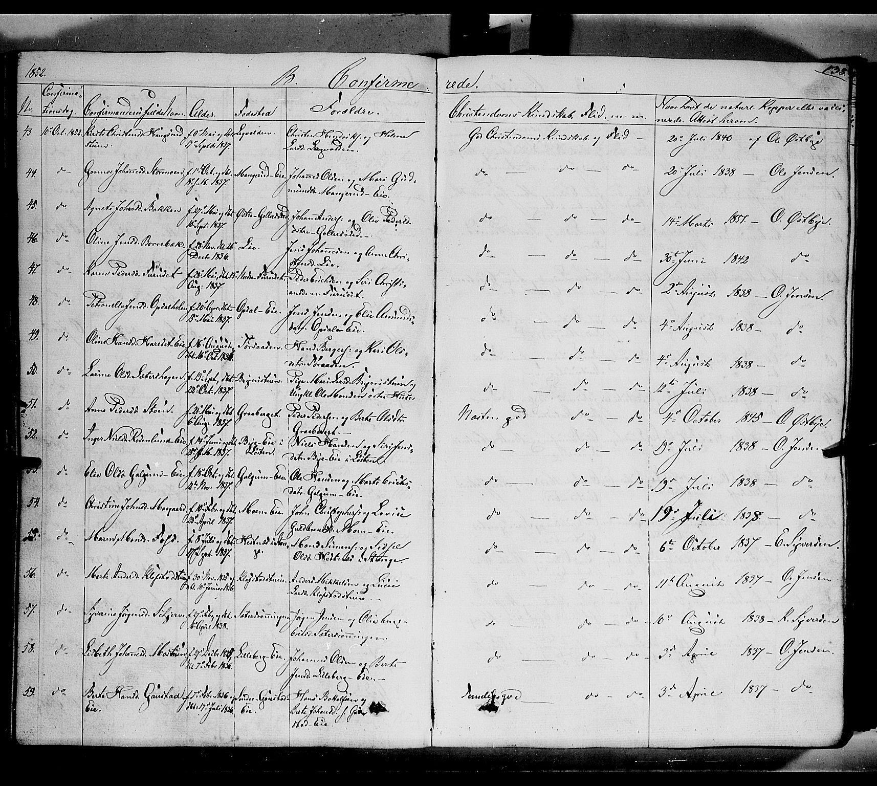 SAH, Romedal prestekontor, K/L0004: Ministerialbok nr. 4, 1847-1861, s. 138