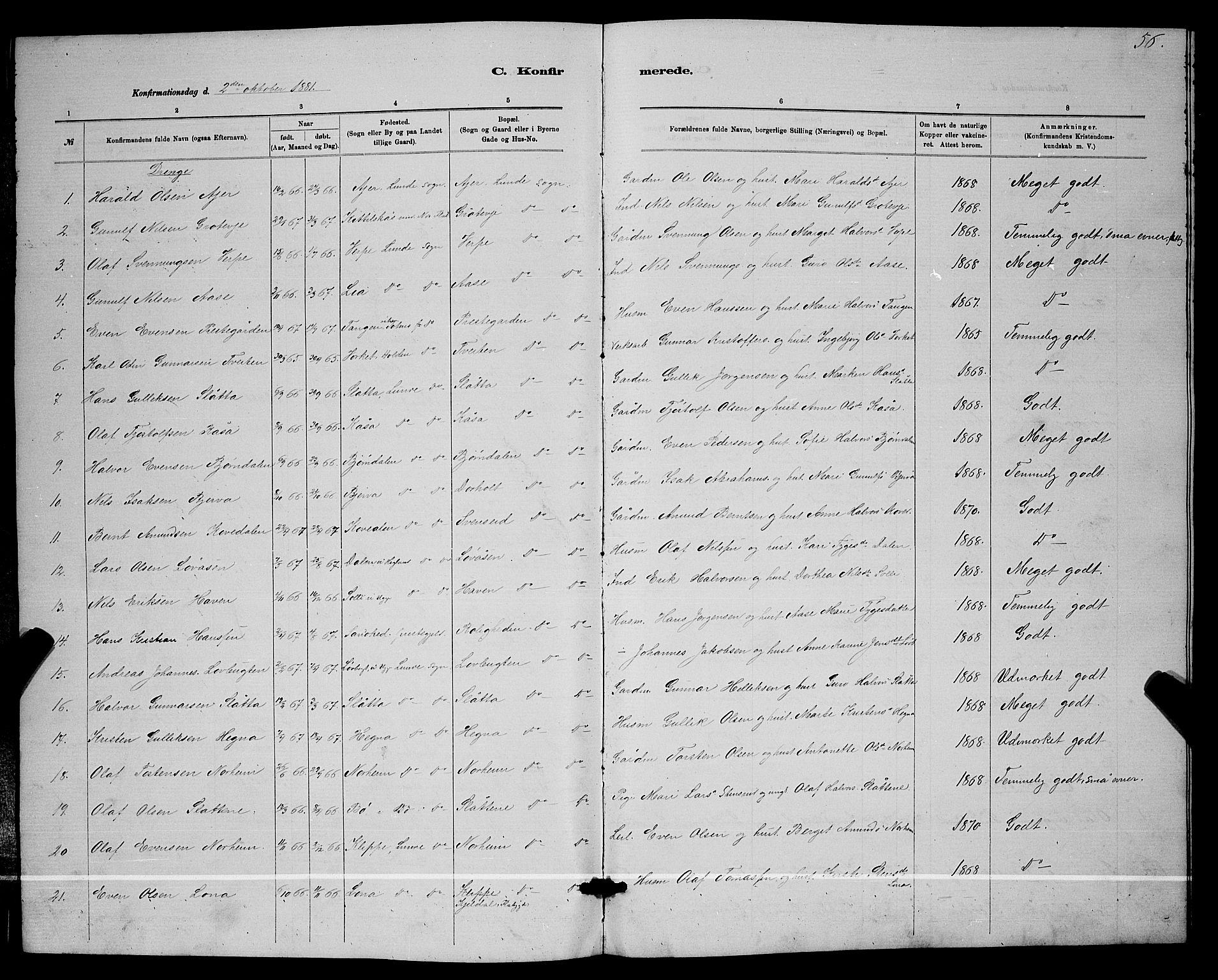 SAKO, Lunde kirkebøker, G/Ga/L0001b: Klokkerbok nr. I 1, 1879-1887, s. 56