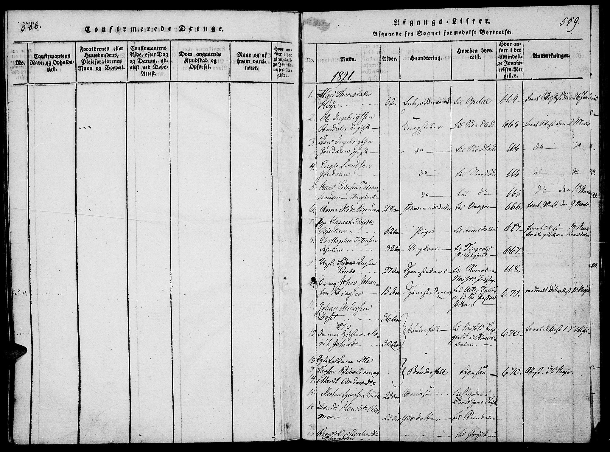 SAH, Lesja prestekontor, Ministerialbok nr. 4, 1820-1829, s. 558-559