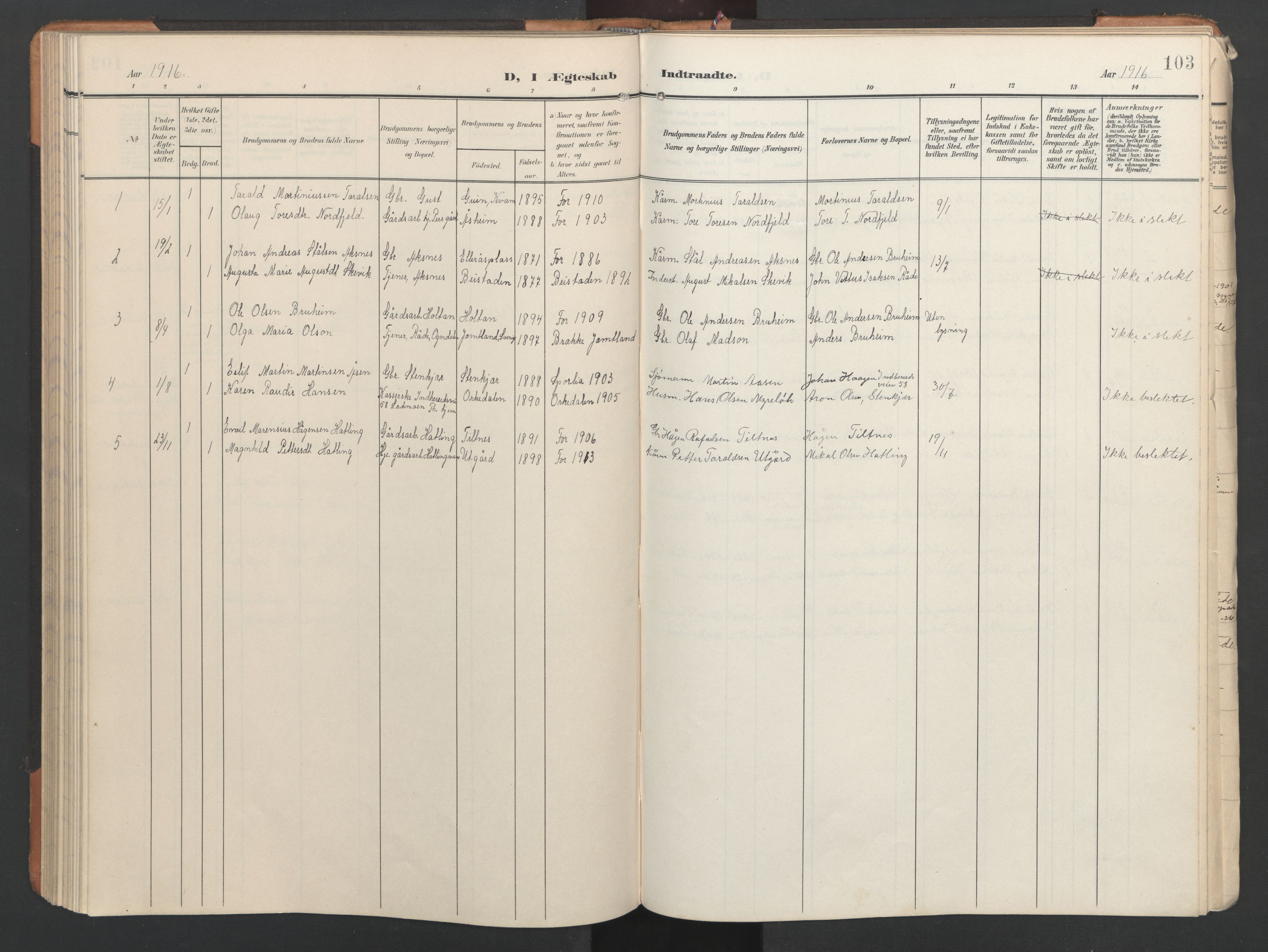SAT, Ministerialprotokoller, klokkerbøker og fødselsregistre - Nord-Trøndelag, 746/L0455: Klokkerbok nr. 746C01, 1908-1933, s. 103