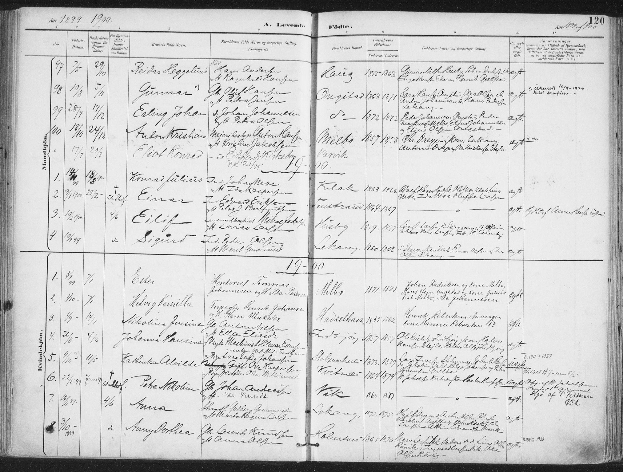 SAT, Ministerialprotokoller, klokkerbøker og fødselsregistre - Nordland, 888/L1246: Ministerialbok nr. 888A12, 1891-1903, s. 120