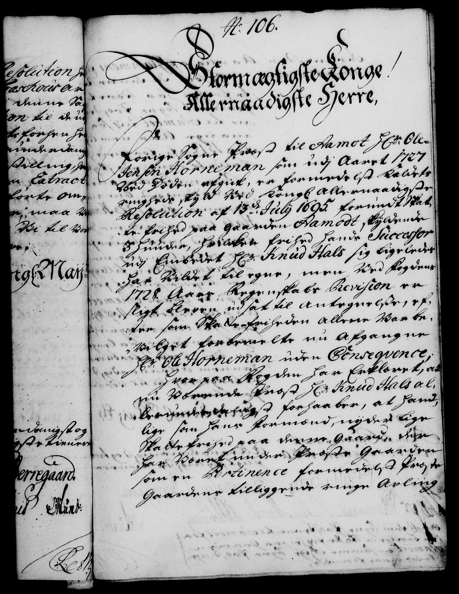 RA, Rentekammeret, Kammerkanselliet, G/Gf/Gfa/L0013: Norsk relasjons- og resolusjonsprotokoll (merket RK 52.13), 1730, s. 586