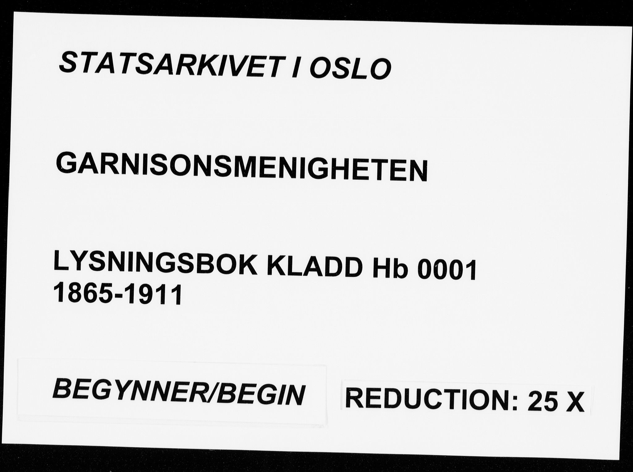 SAO, Garnisonsmenigheten Kirkebøker, H/Hb/L0001: Lysningsprotokoll nr. II 1, 1865-1911